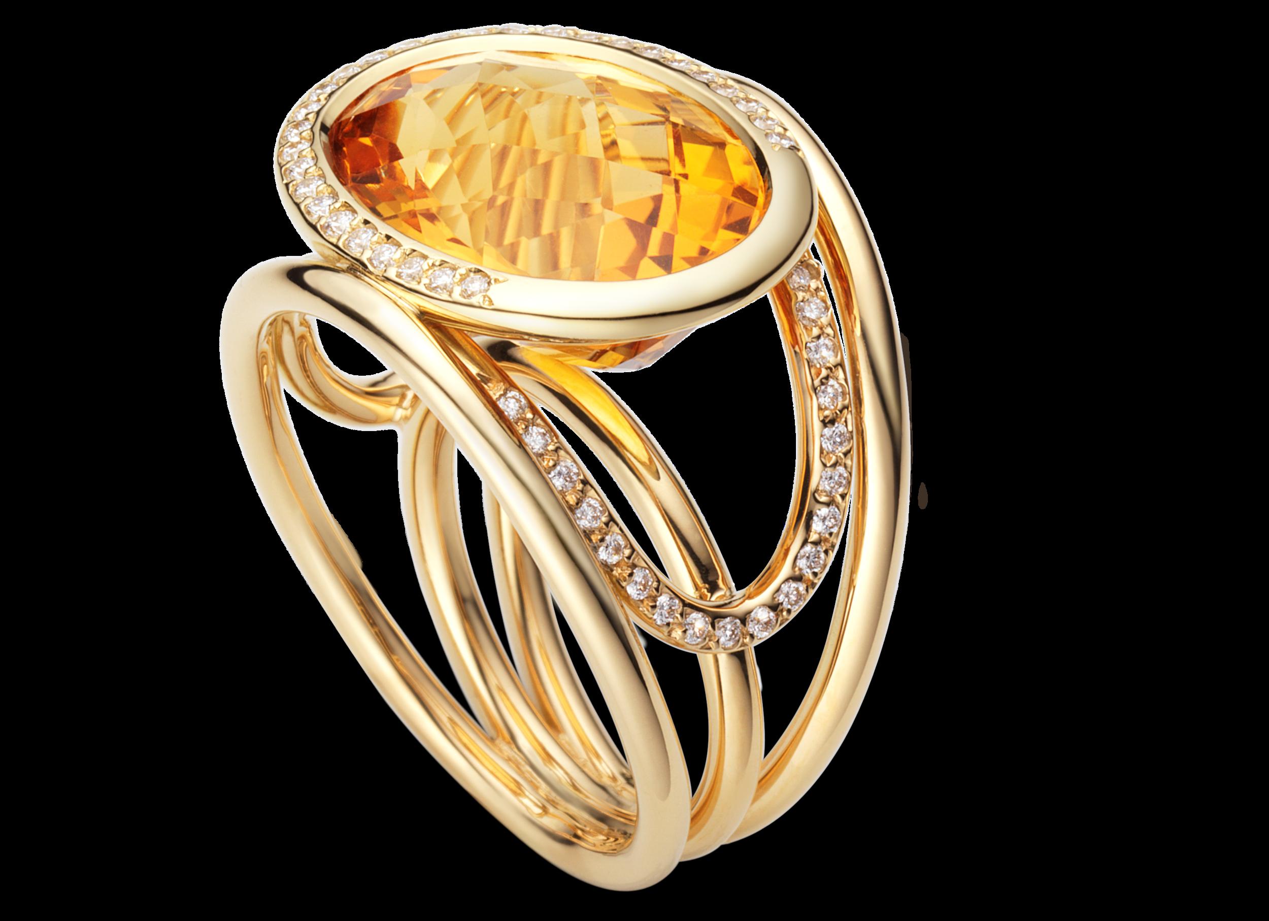 Bague Navona - Or jaune, Citrine et diamants