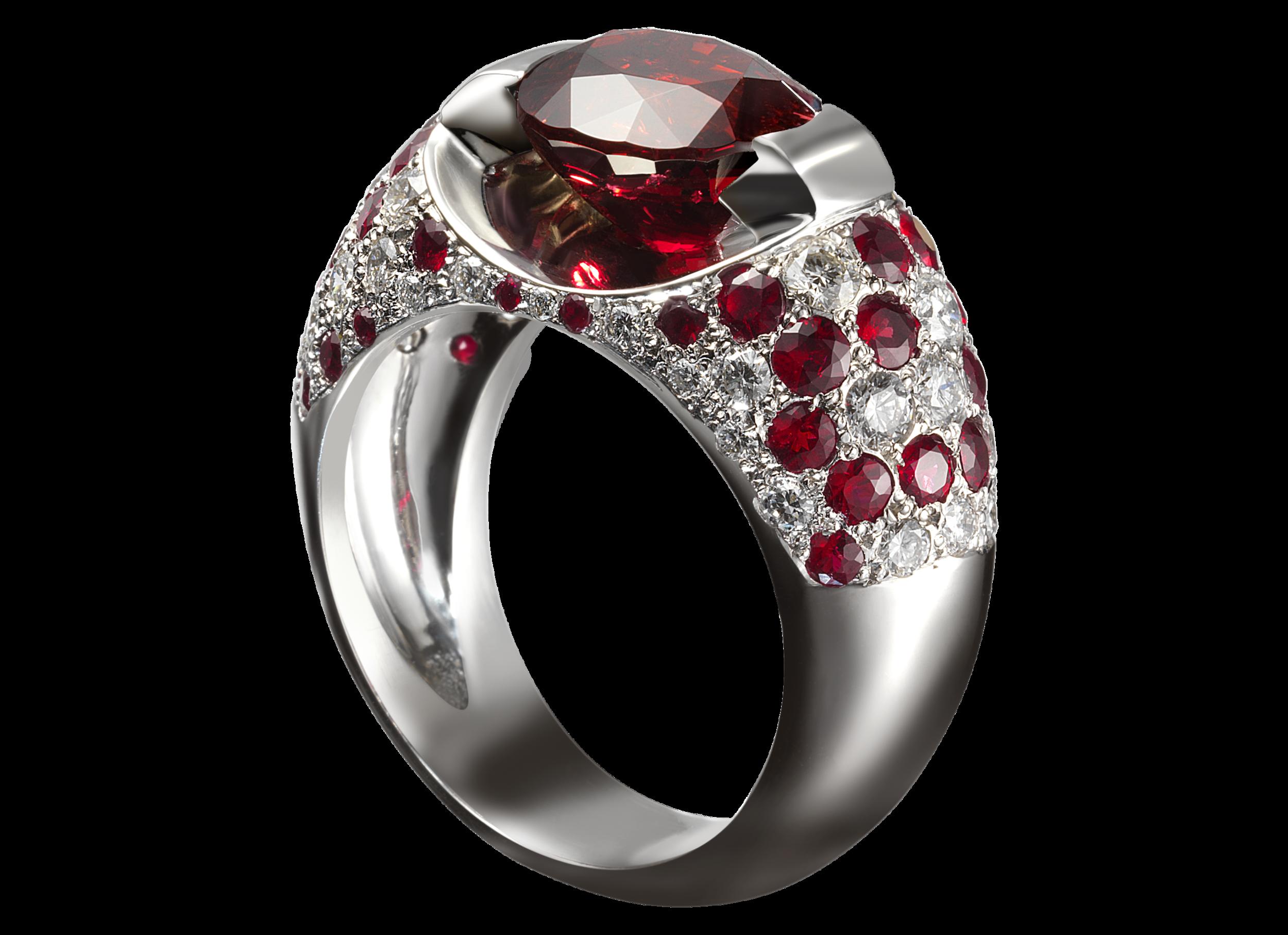 Bague Éolia - Or blanc spinelle ovale de 3,12 carats, pavage de diamants 0,44 carat et de rubis 1,15 carat