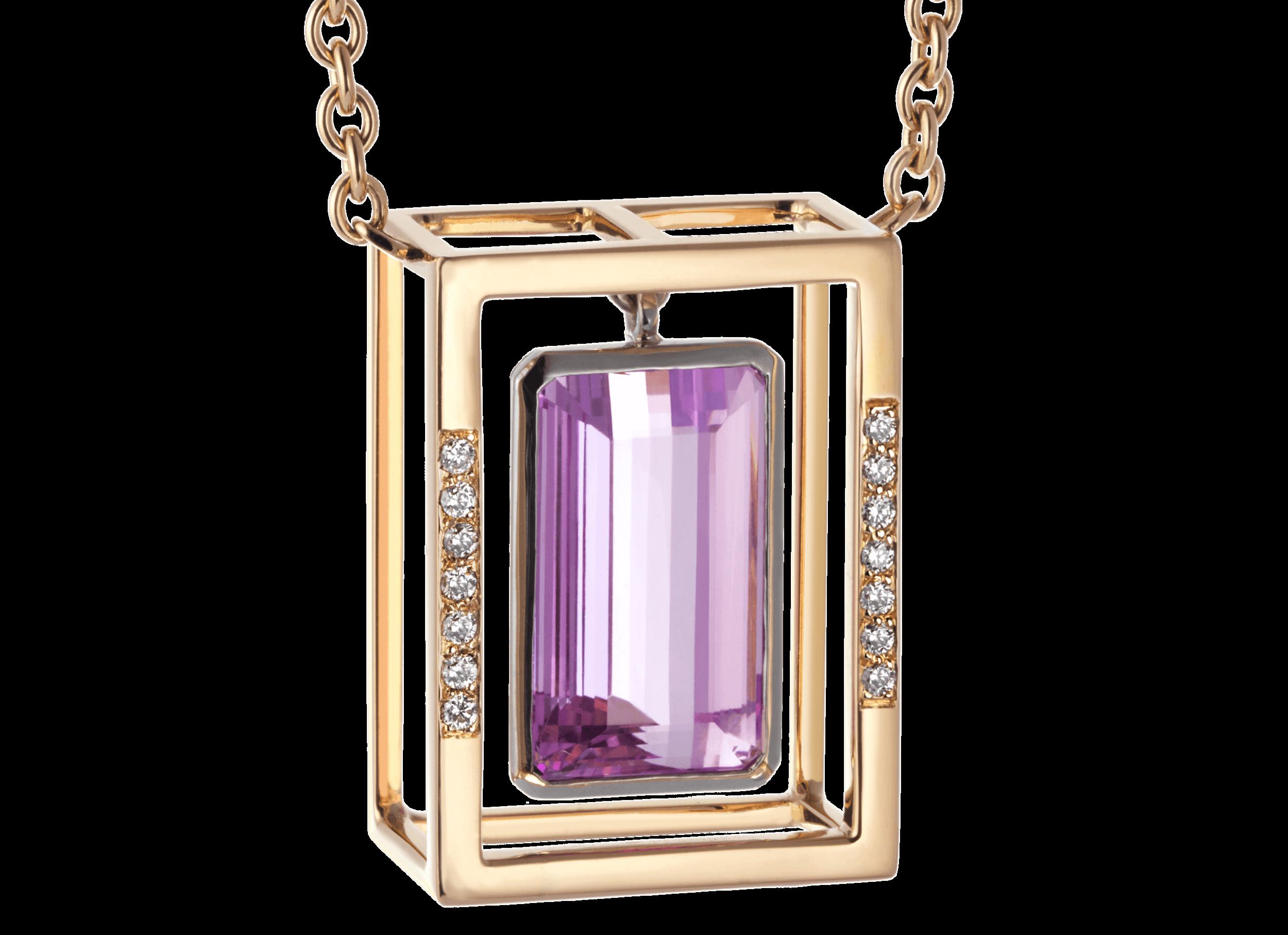 Pendentif Stoa - Topaze rose 13,88 carats et diamants