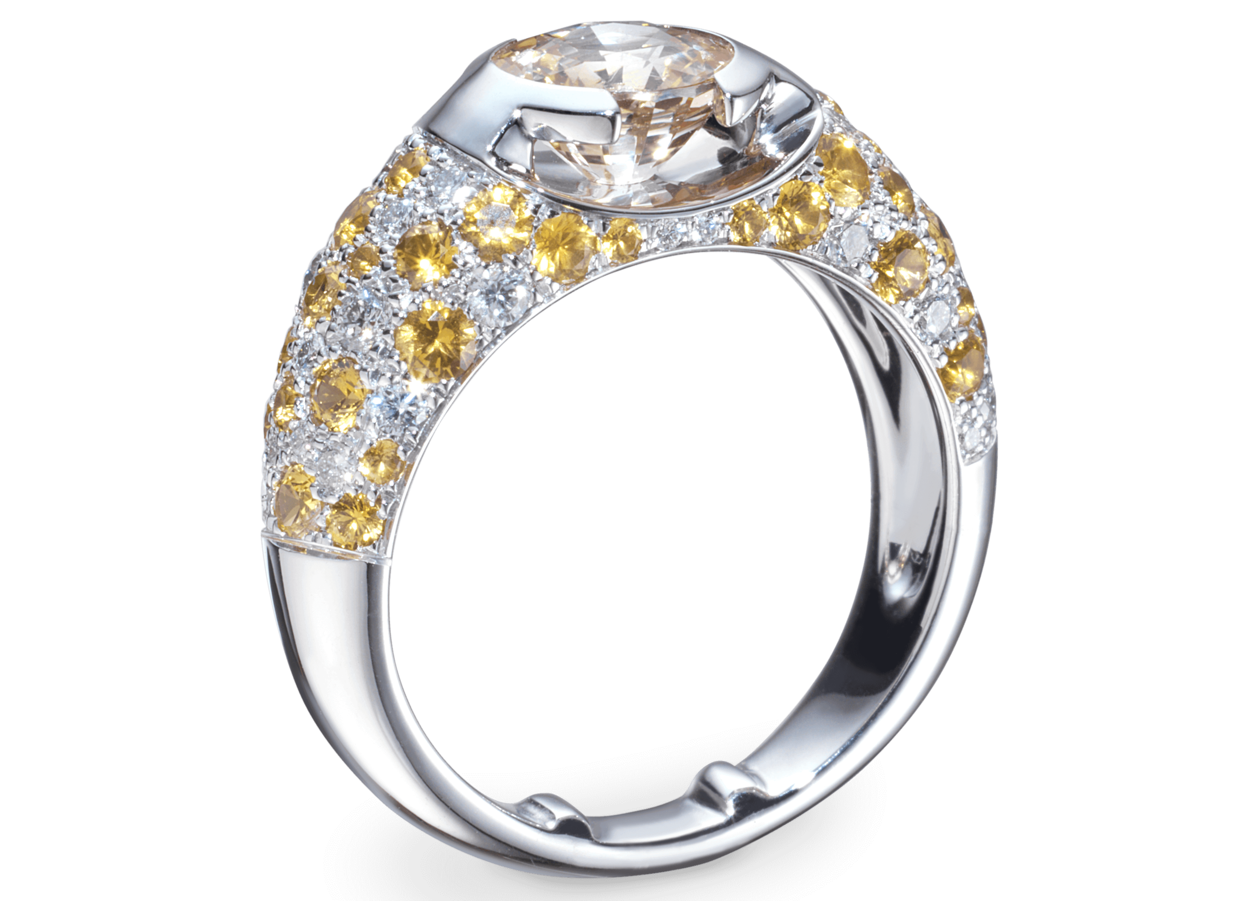 Bague Eolia or blanc Saphir jaune naturel 1,59 carat et pavage de diamants et saphirs jaune.png