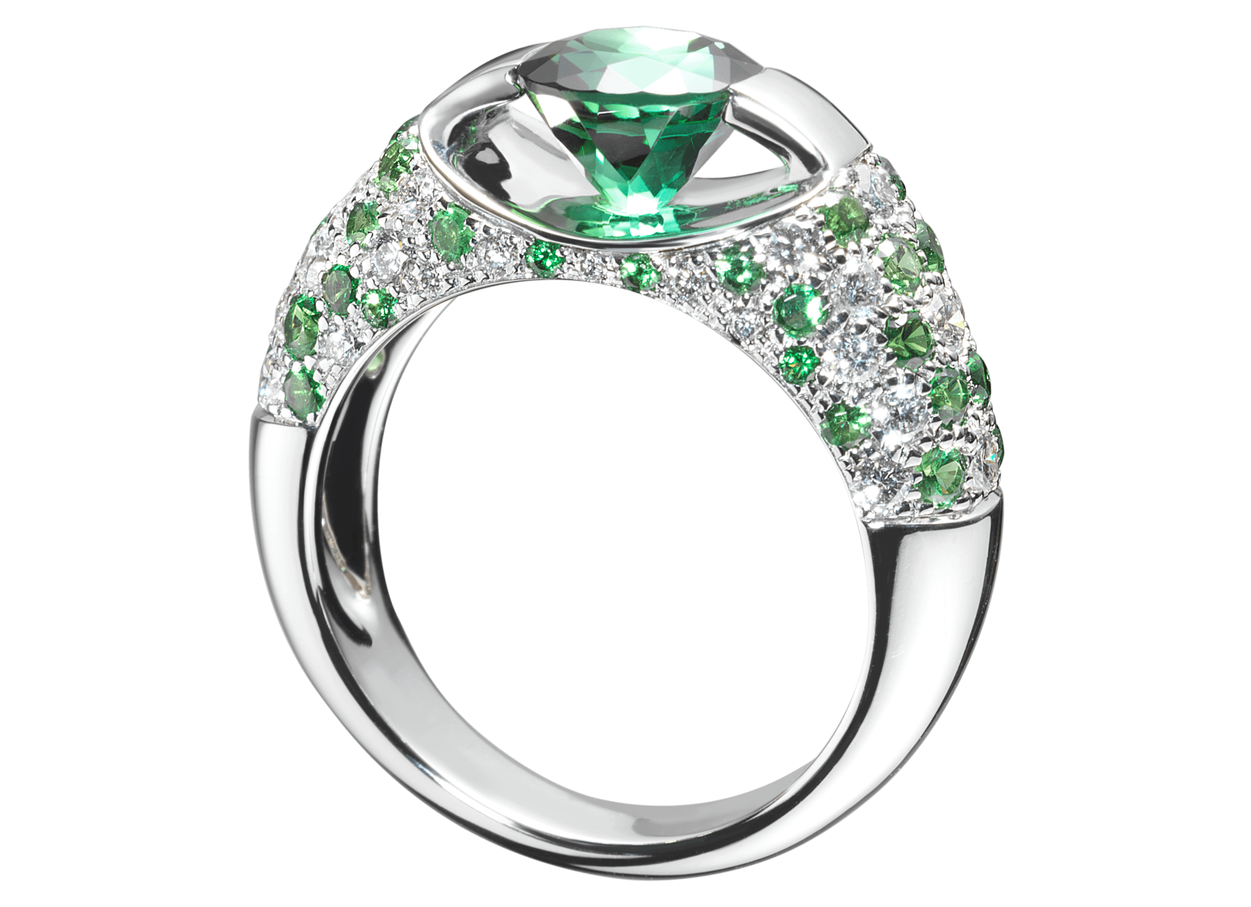 Bague Eolia or blanc Tourmaline verte et pavage de diamants et tsavorites.png