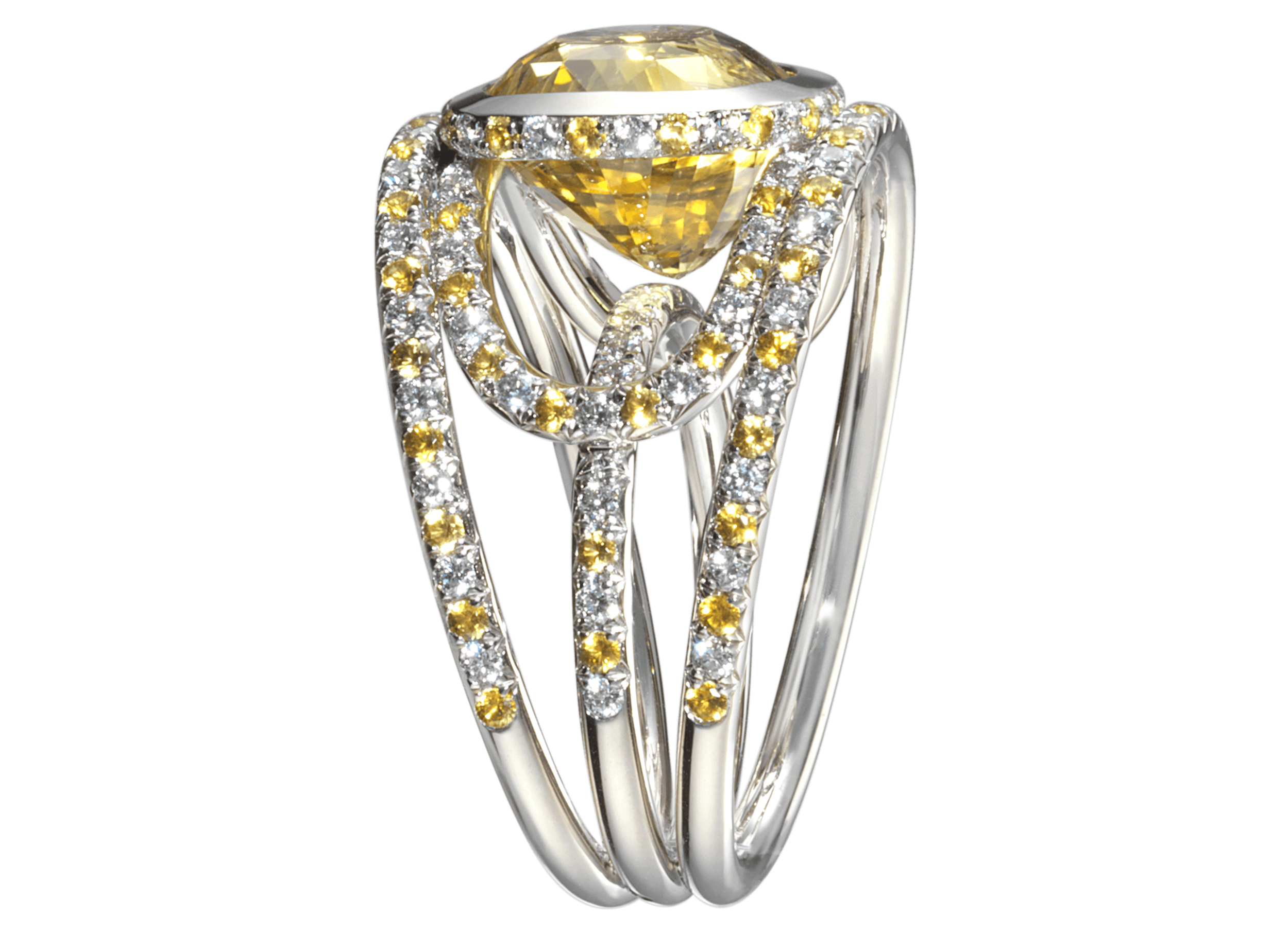 Bague Navona or blanc Saphir jaune 9,54 carats et pavage de diamants et saphirs jaunes.png