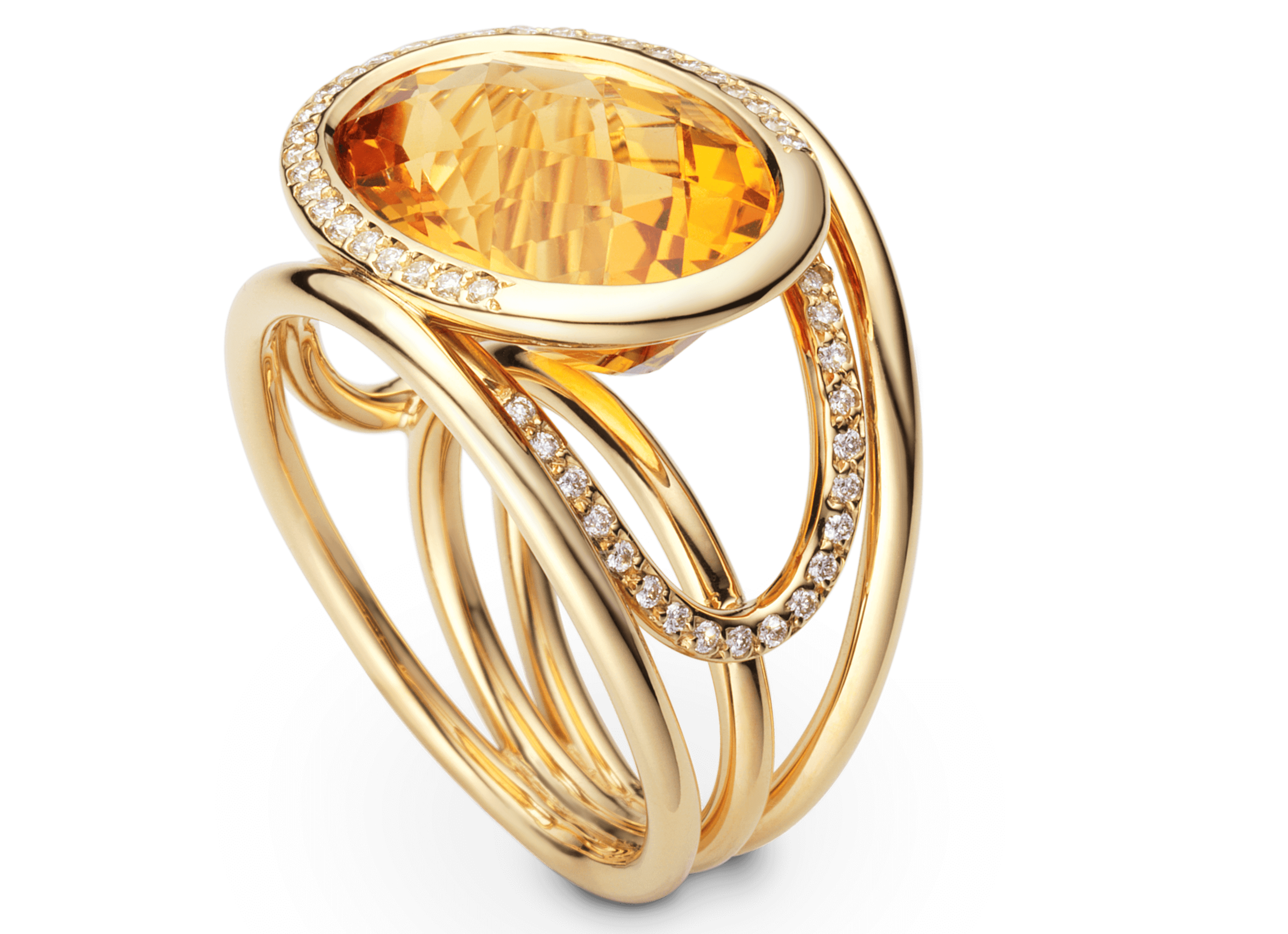 Bague Navona or jaune, Citrine et pavage diamants 1.png