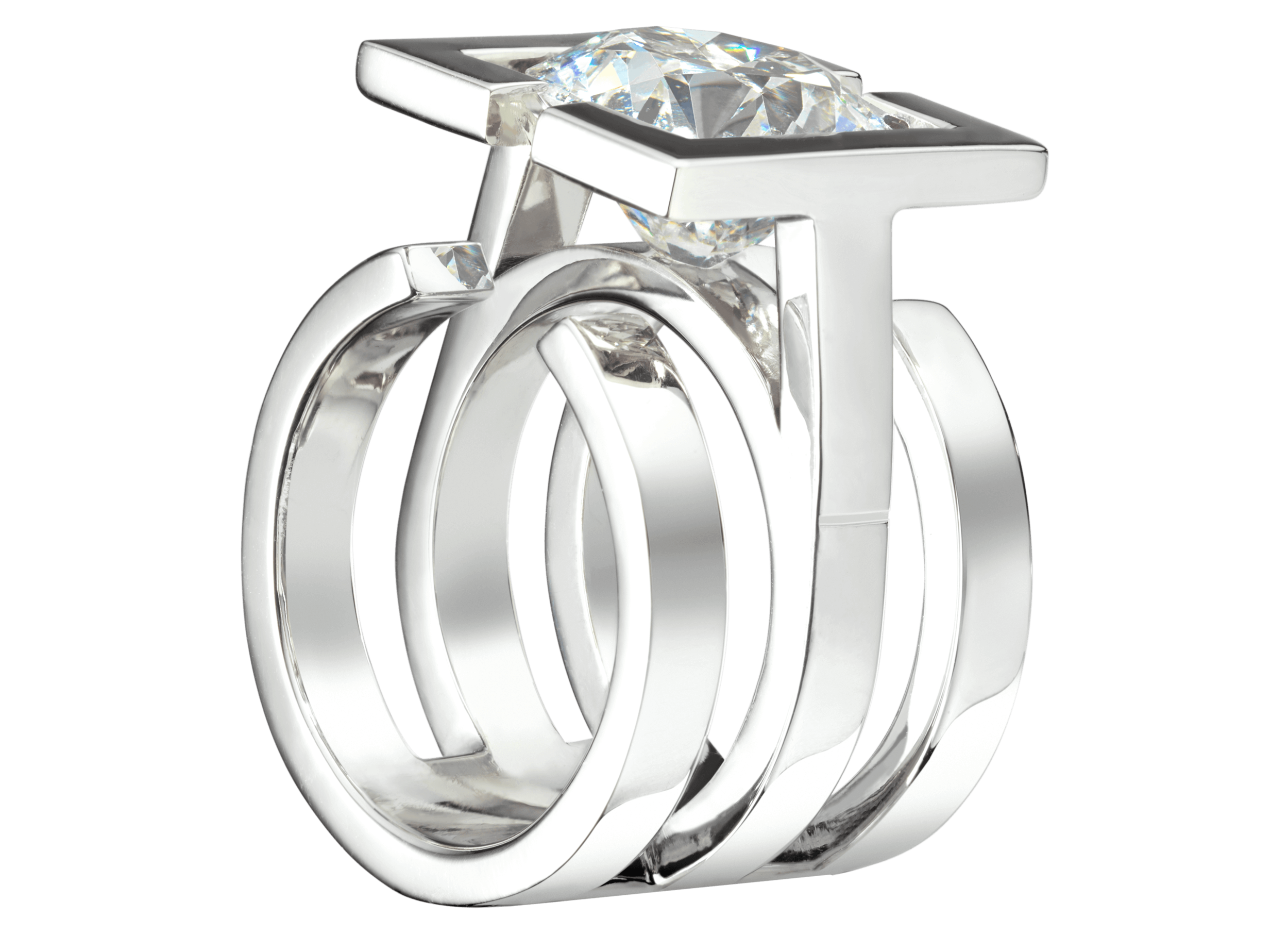 Bague Saint-Louis or blanc et diamant 5 carat perspective