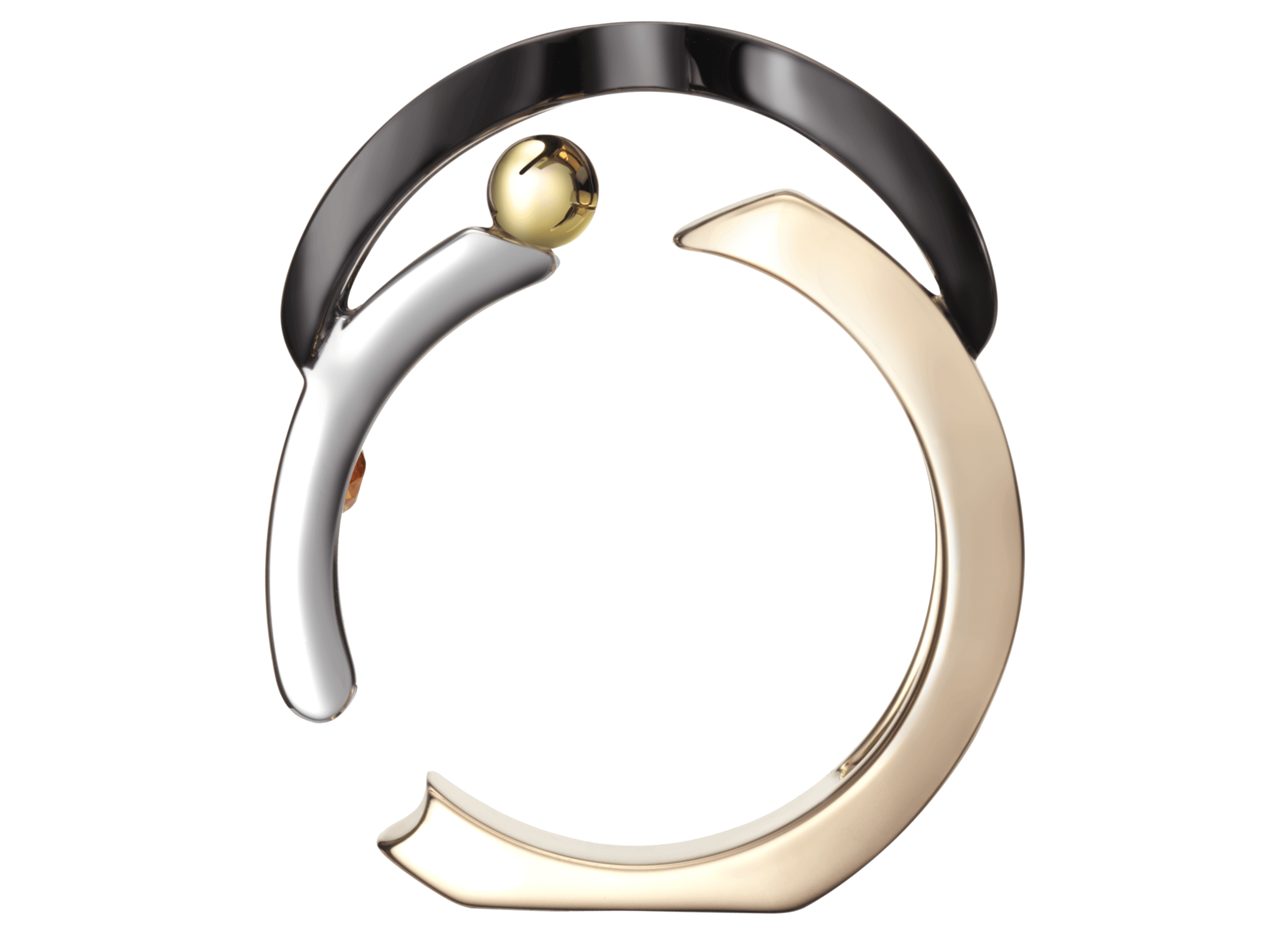 Bague Chillida or rose blanc jaune noir saphir orange face.png