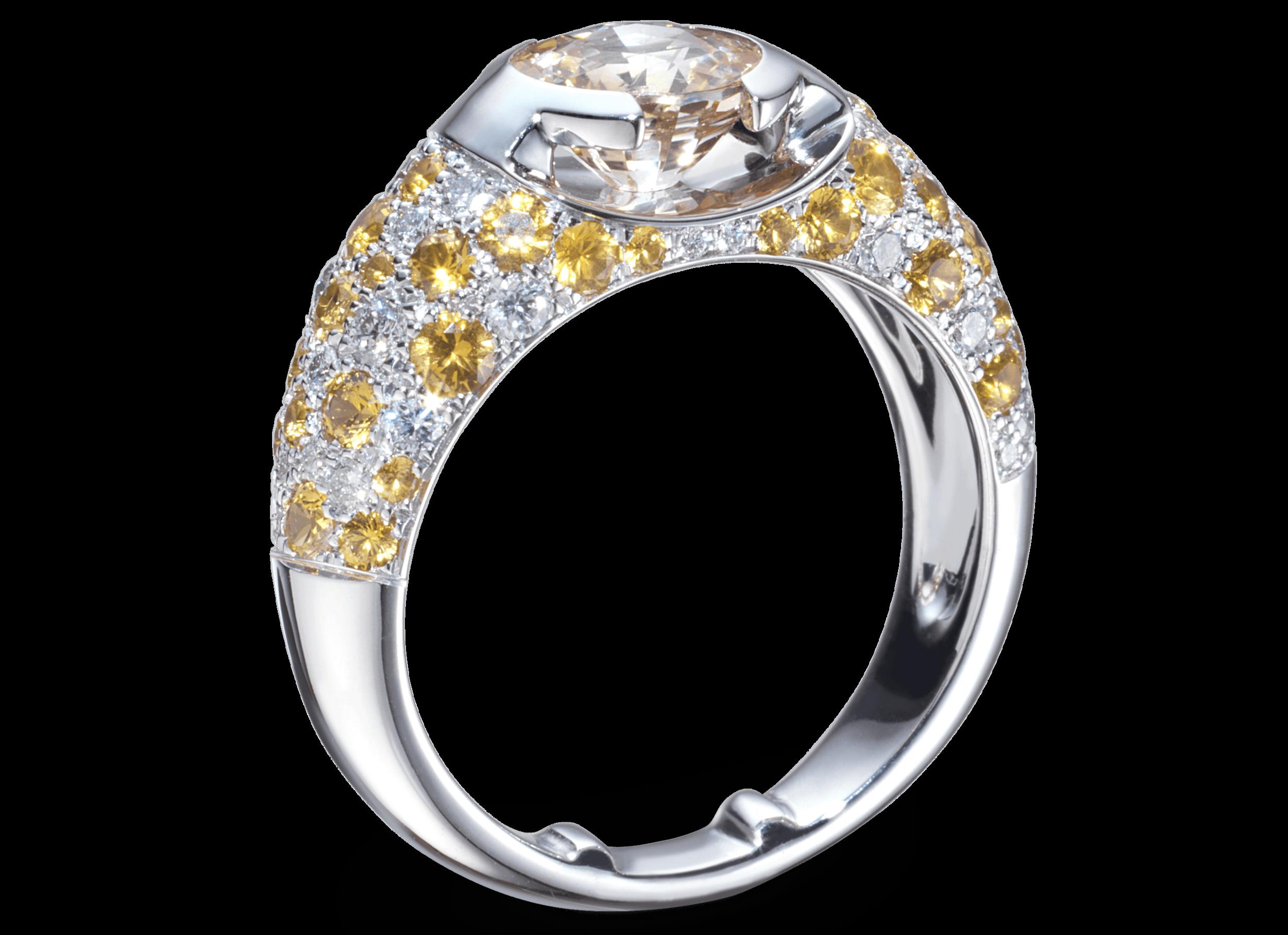 Bague Eolia or blanc Saphir jaune naturel 1,59 carat et pavage de diamants et saphirs jaune