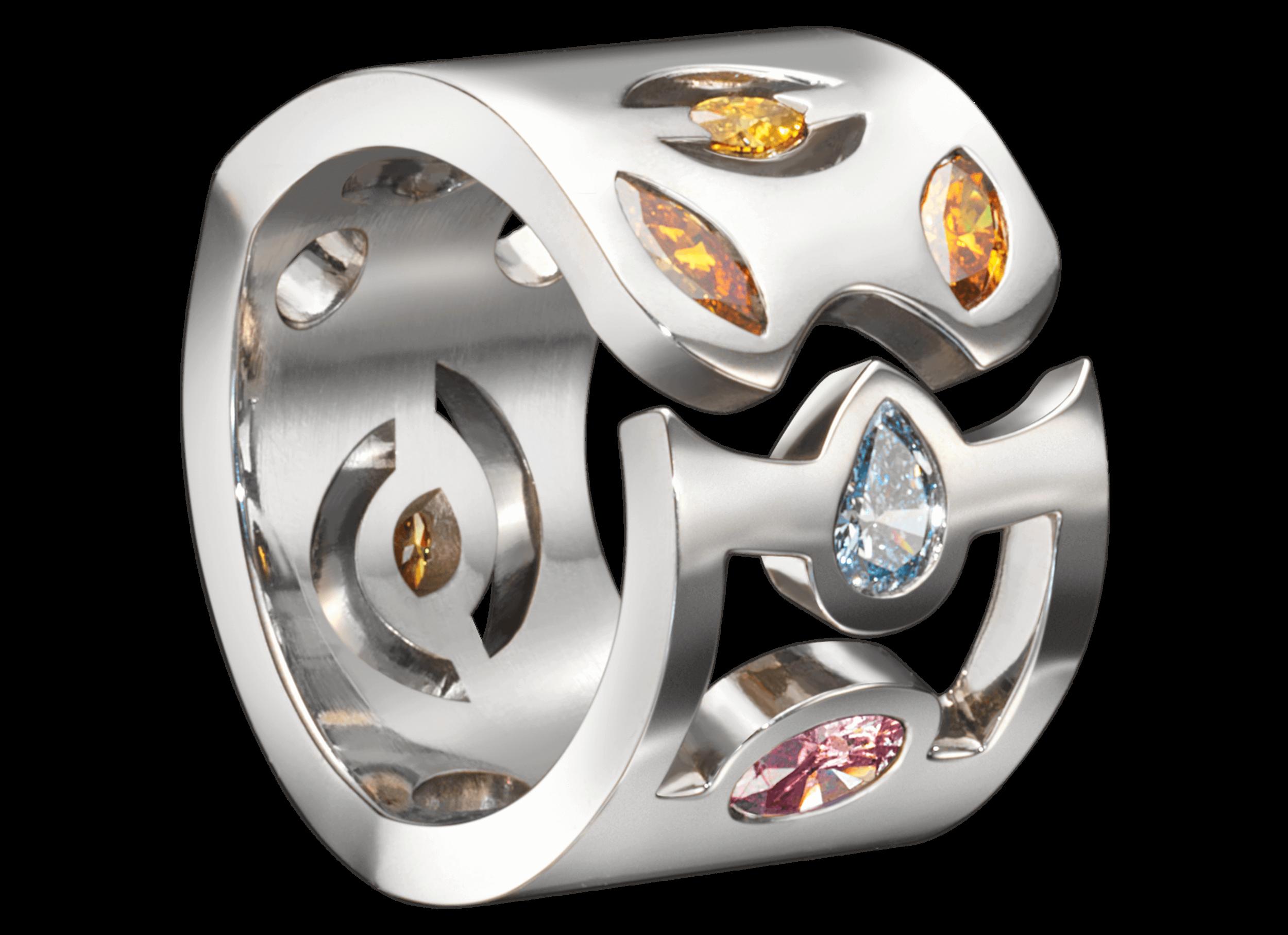 Bague Malevitch or blanc et diamants de couleur.png