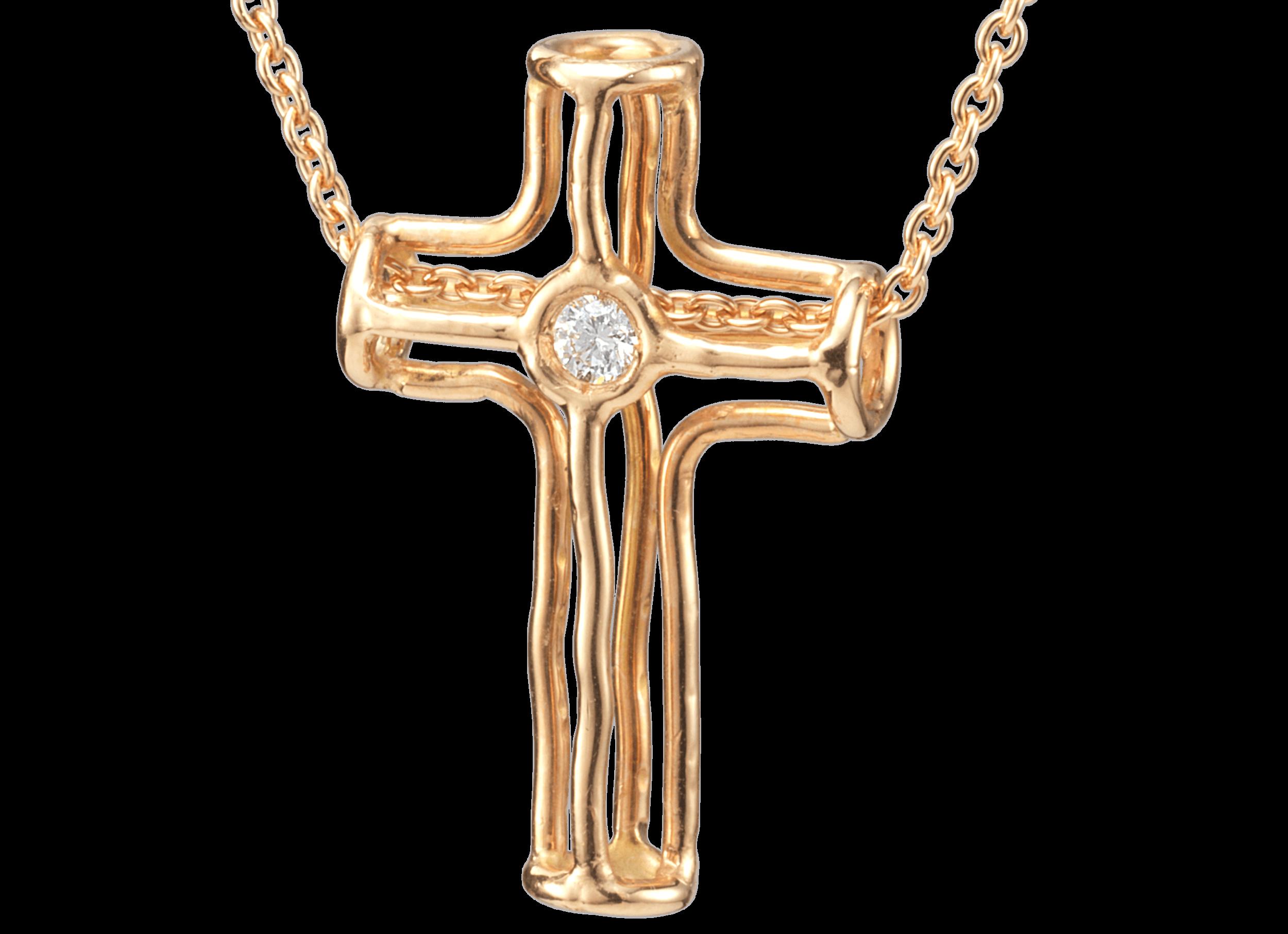 Pendentif croix ajourée or rouge et diamant.png
