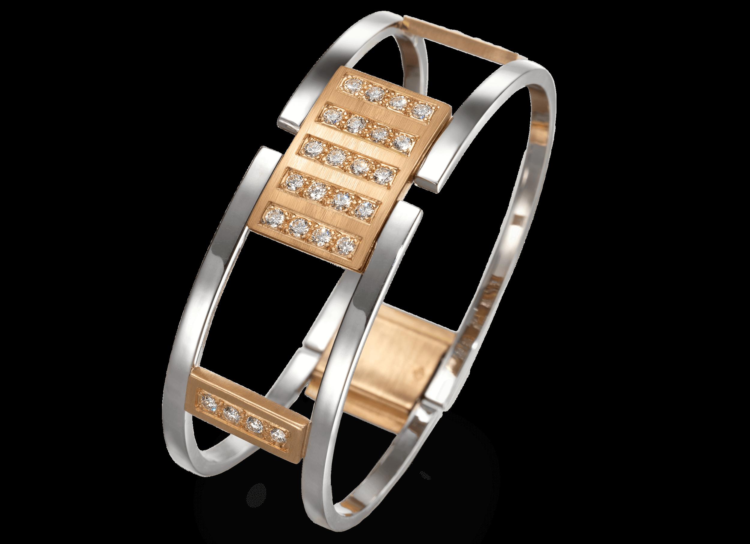 Bracelet Venise or rouge brossé or blanc poli et diamants.png