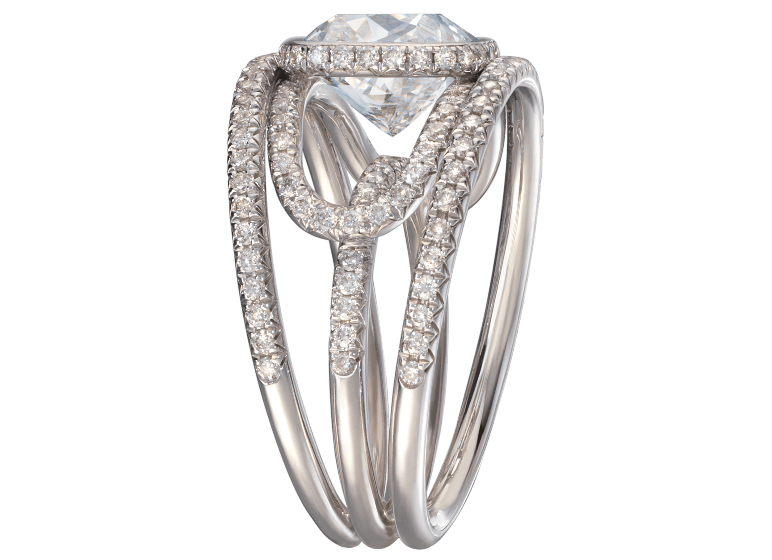 Bague Navona - Or blanc diamant coussin 3 carats pavage complet