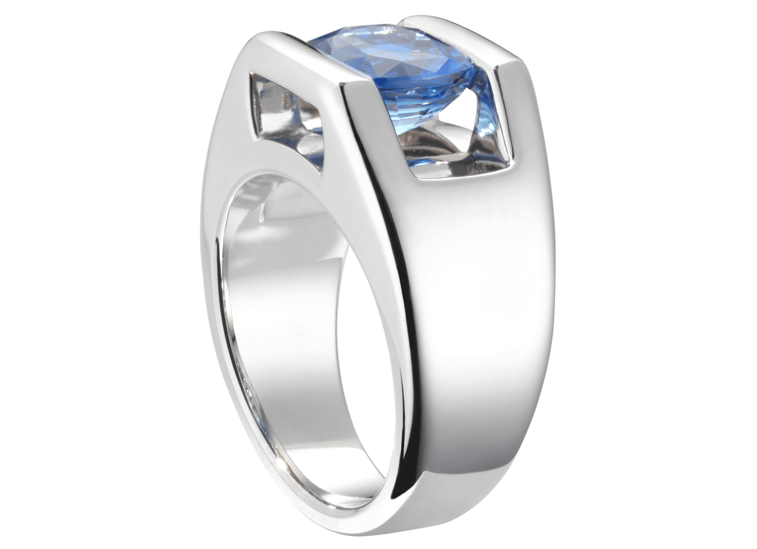 Bague Anna or blanc Toumaliine bleue 3,47 carats et pavage 50 diamants 0.24 ct