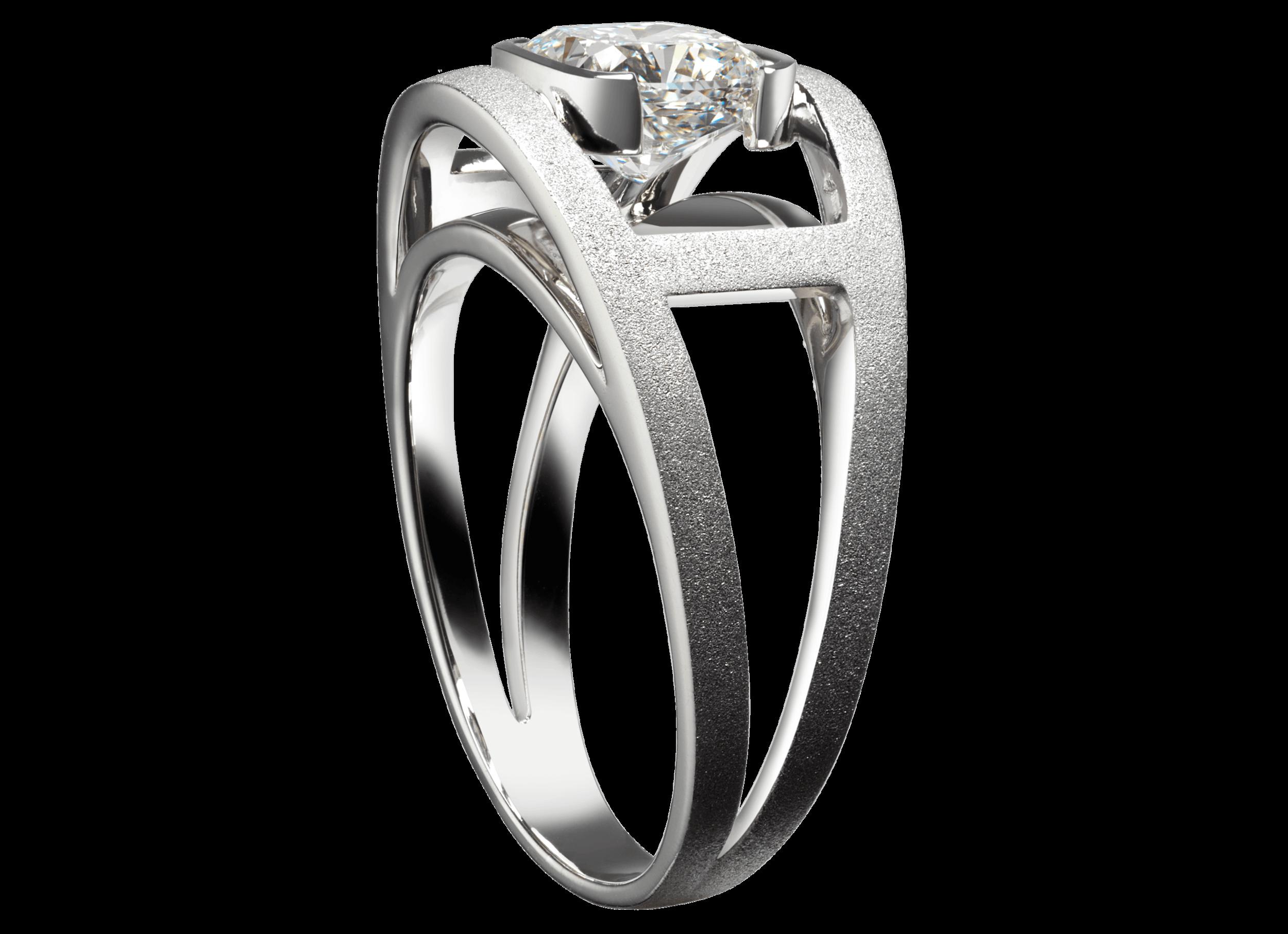 Bague Praha or blanc poli brossé et diamant coussin 1,74 carat.png