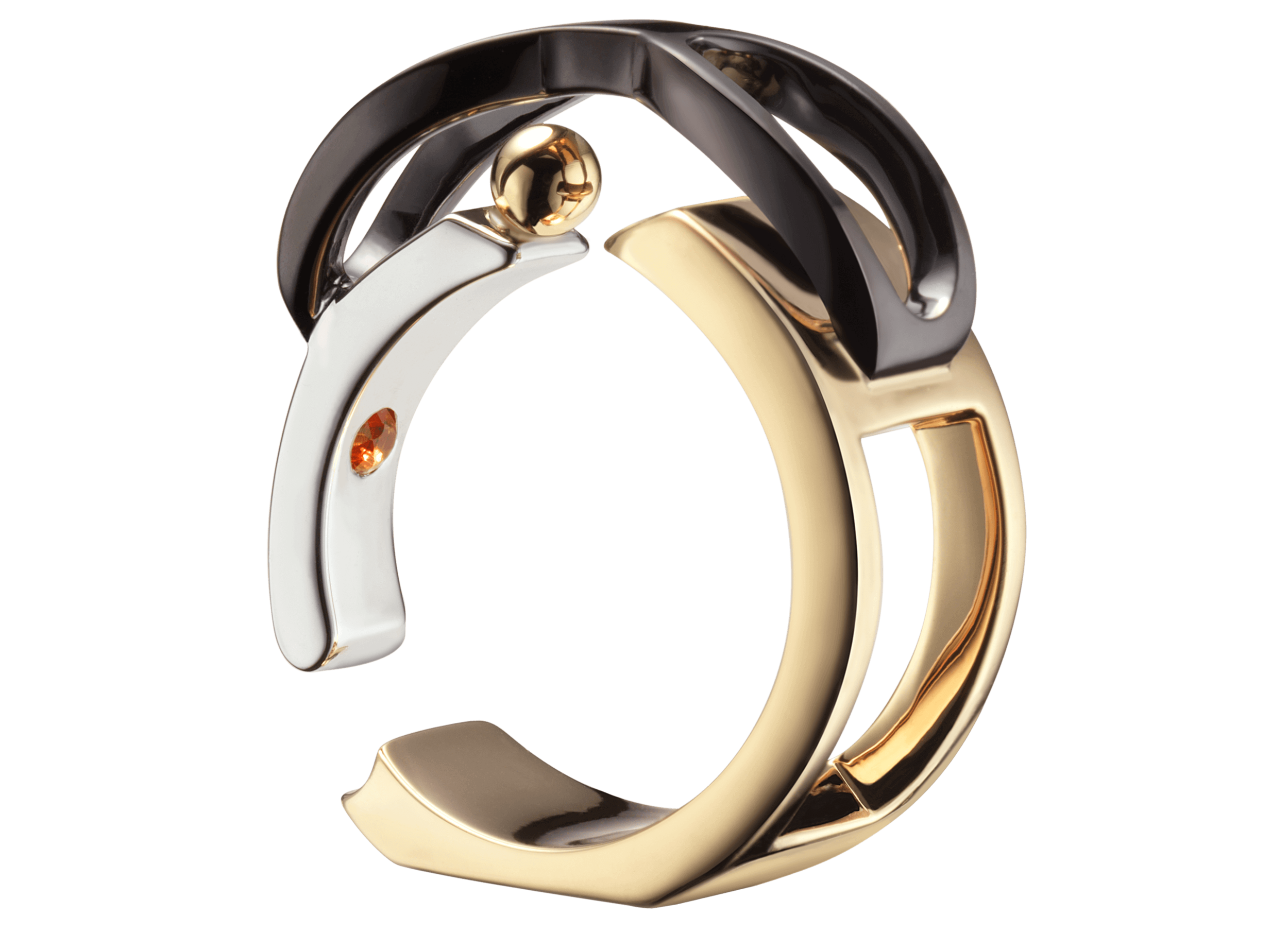 Bague Chillida or rose blanc jaune noir saphir orange 3quart pierre.png