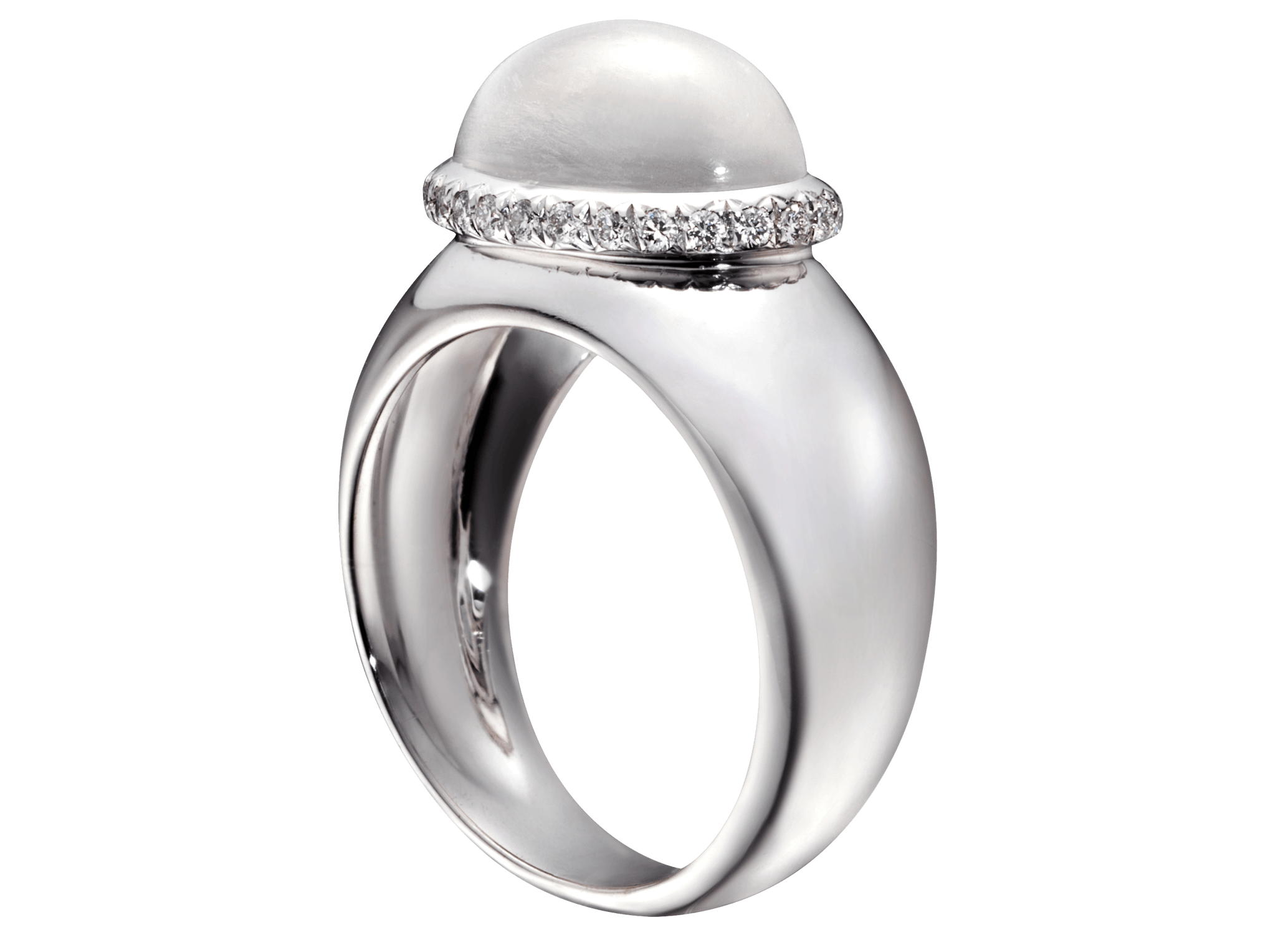Bague Caboche or blanc pierre de Lune et diamants PNG web.png