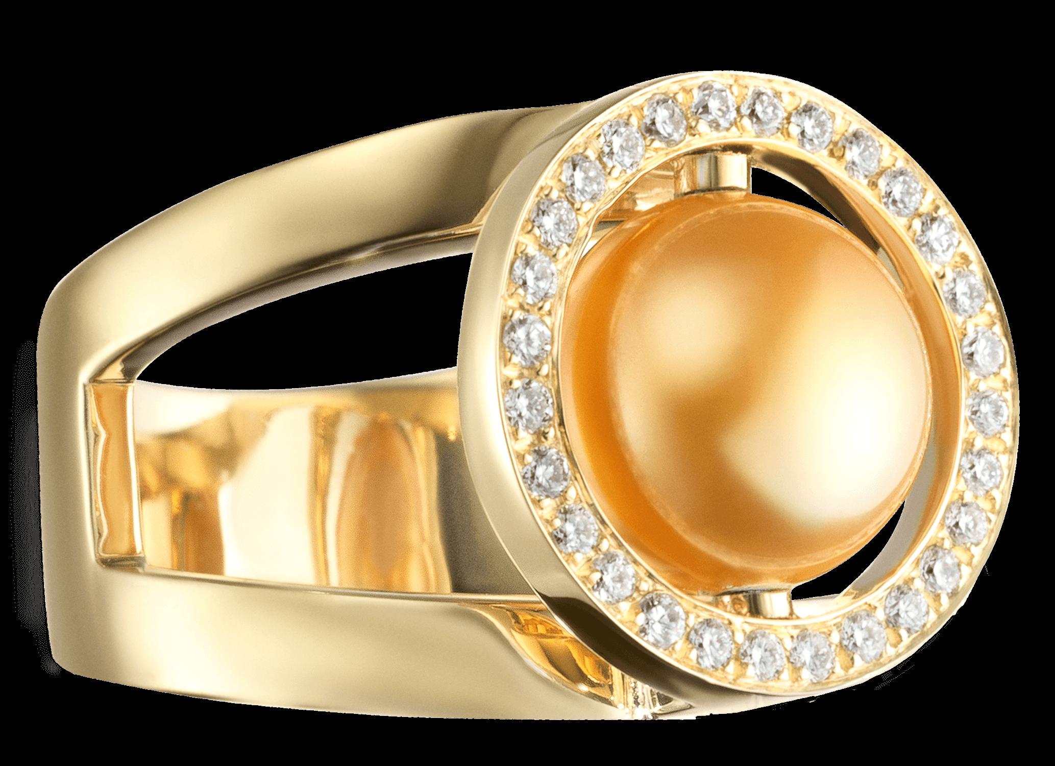 Bague Mamona or jaune, perle des Mers du Sud et diamants PNG web.png