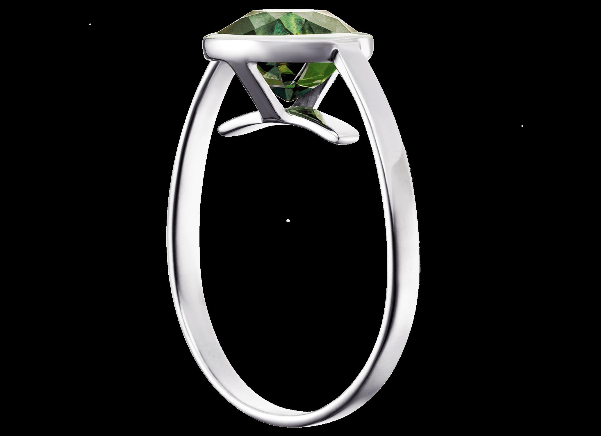 Bague Cha - Or blanc et saphir vert 3,01 carats