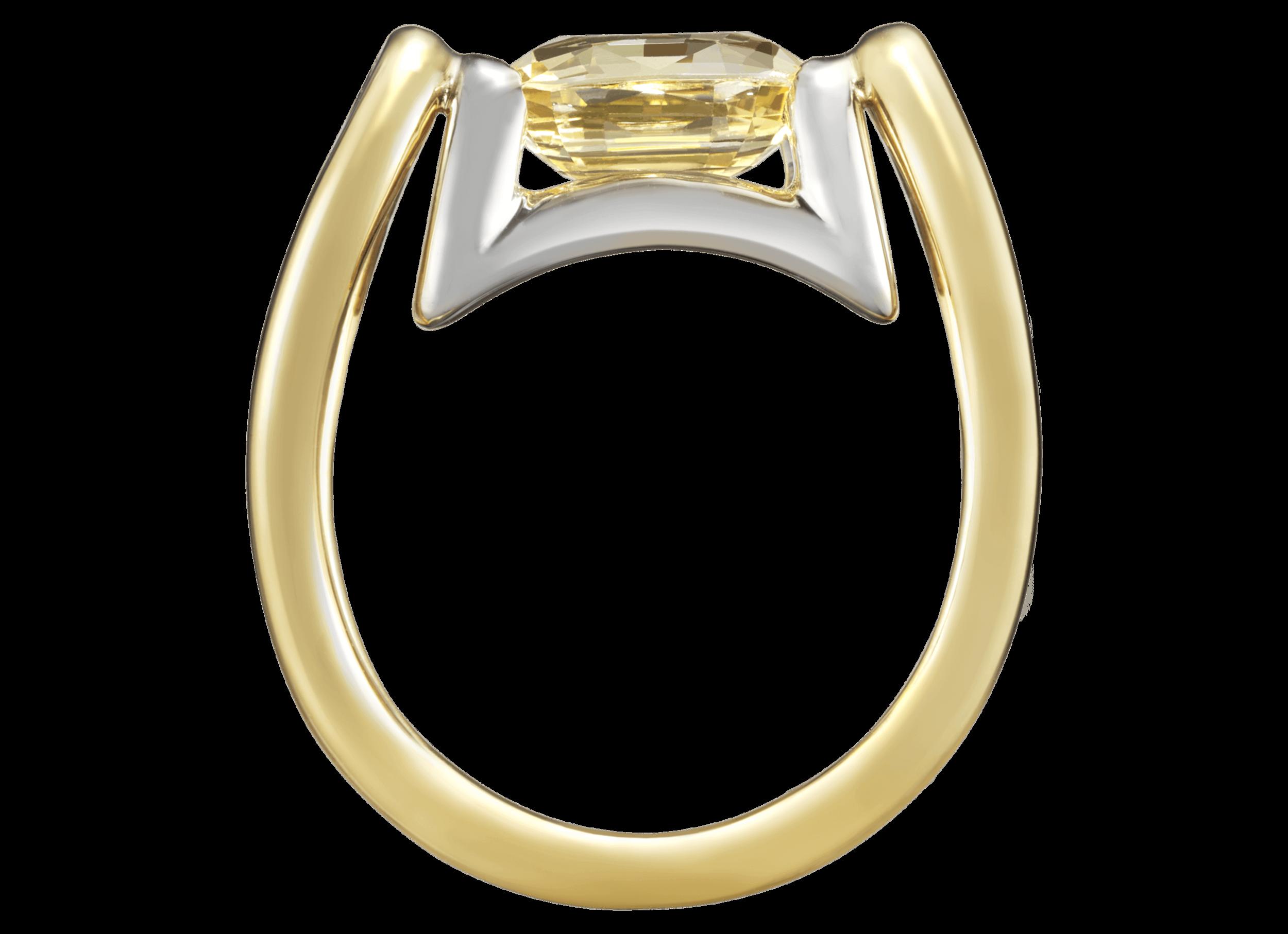Bague Anna - Monture à partir de 2 500 € plus la pierre centrale et un éventuel pavage.(modèle présenté 3 200 € avec un saphir jaune de 2,68 carats)