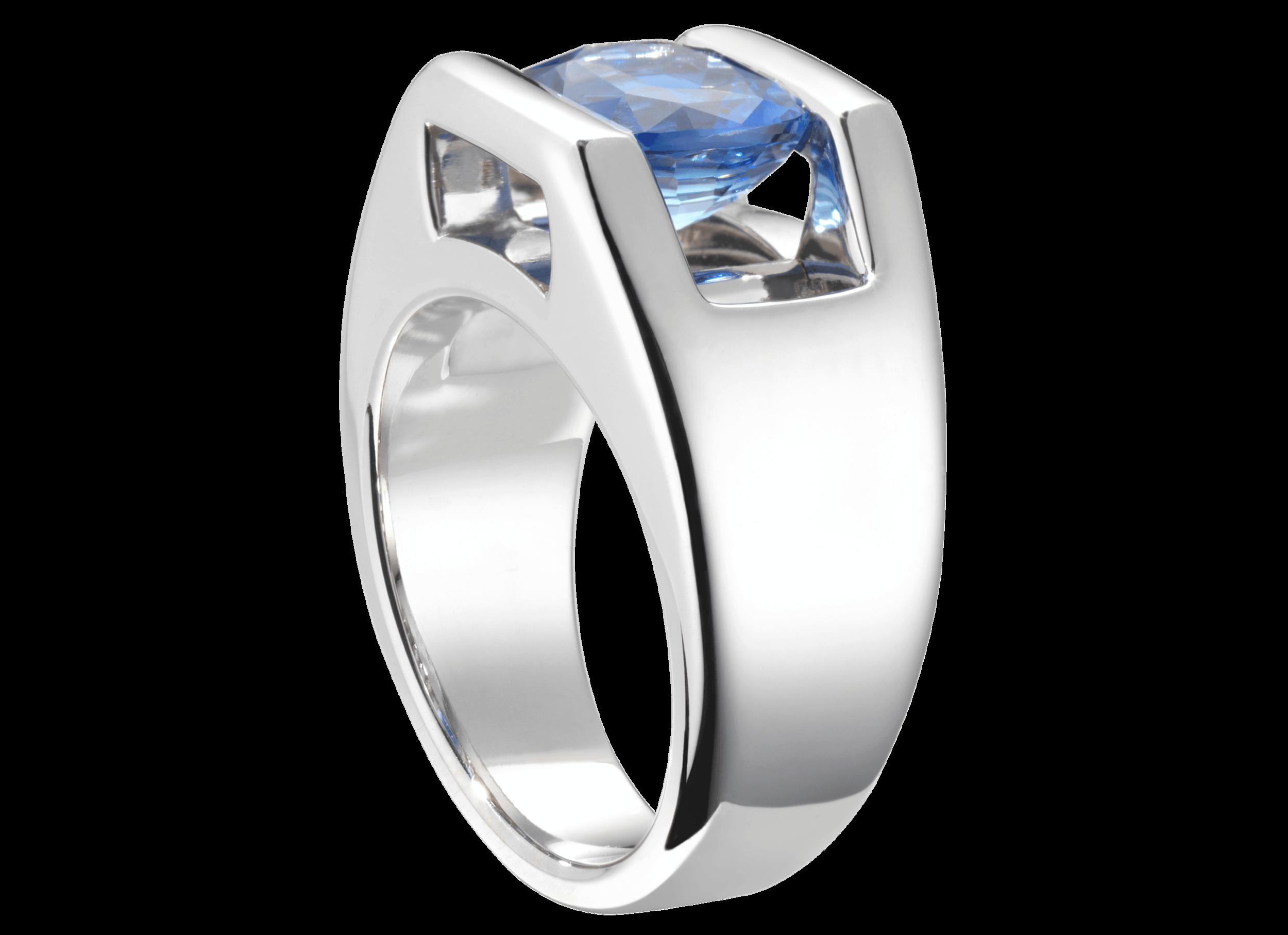 Bague Béa - Monture à partir de 2 500 € plus la pierre centrale(modèle présenté 12 300 € avec un saphir bleu de 2,35 carats)