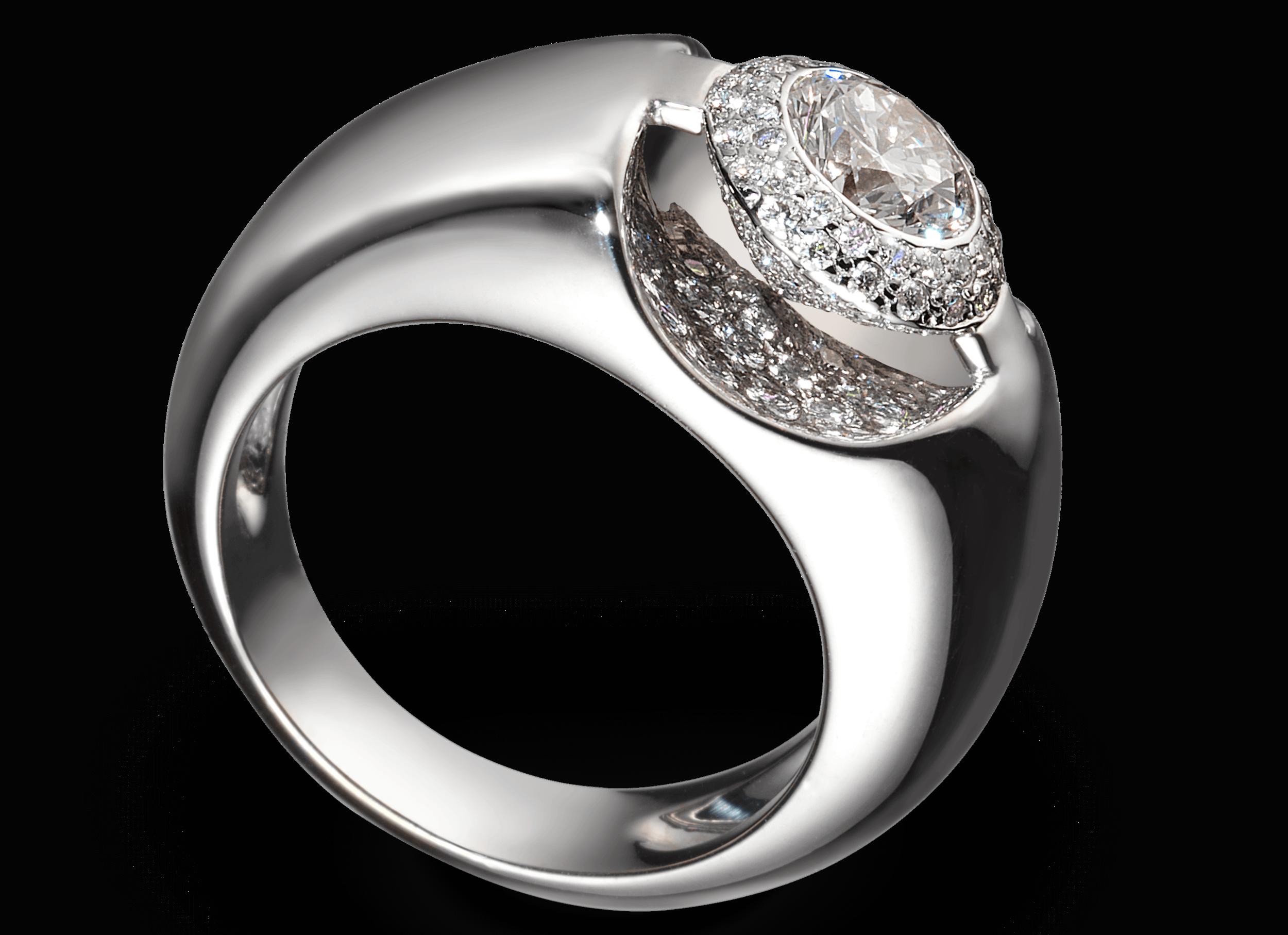 Bague Eolia - Existe en 3 tailles (en fonction de la taille de la pierre).Montures à partir de 1 800 € - 2100 et 2 500 € plus la pierre centrale.(Modèle présenté 7 900 € avec un diamant de 0,62 carat et un pavage de 100 pierres)