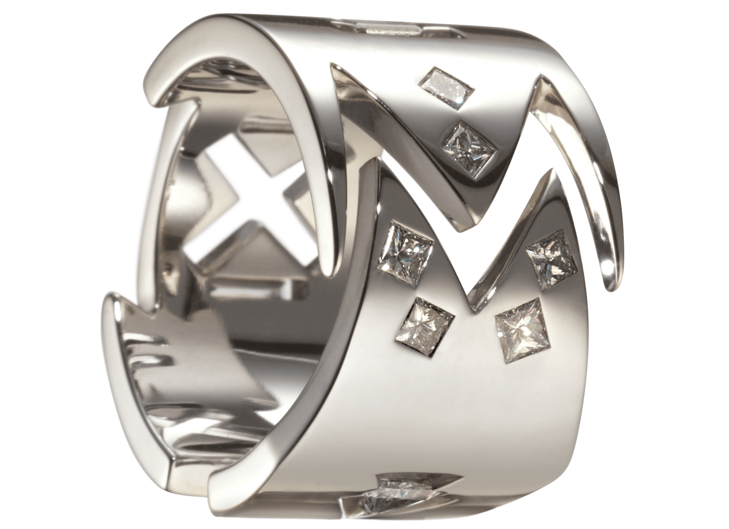 Bague Malévitch - Monture à partir de 3 000 € plus les pierres.(modèle présenté 5 000 € or blanc et 10 diamants 0,61 carat)