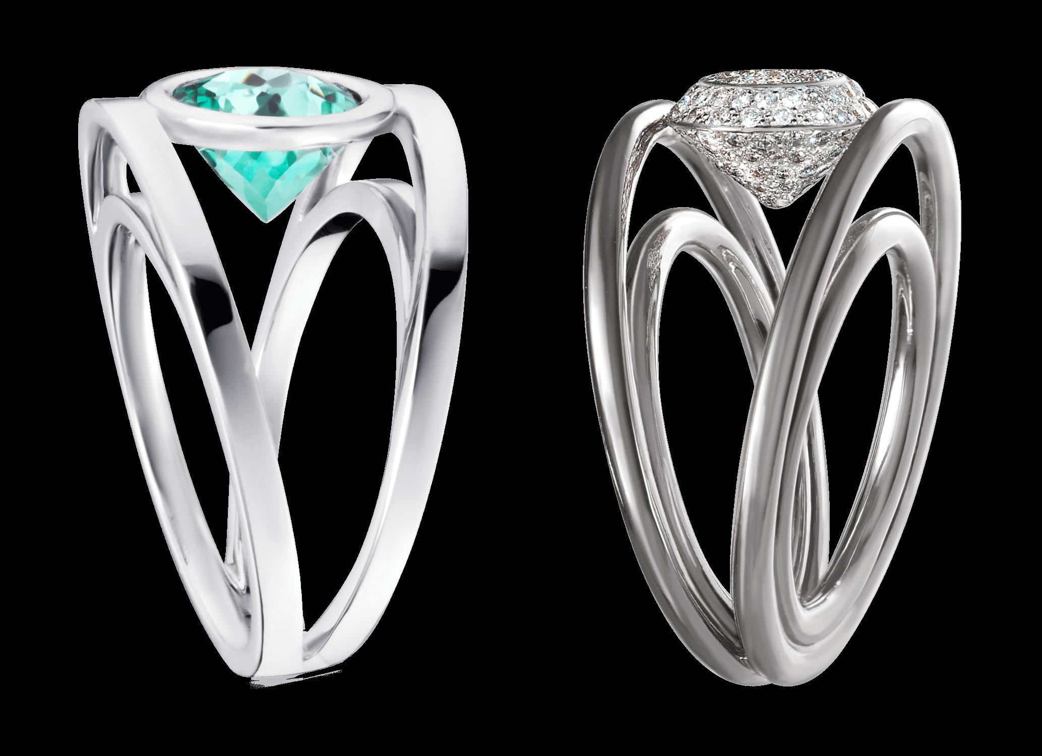 Bague Praha - Monture à partir de 2 500 € plus la pierre centrale.(modèles présentés,4 300 € or blanc et Tourmaline bleue vert 1,89 carat,5 200 € or blanc or blanc et pavage de diamants 0,60 carat).