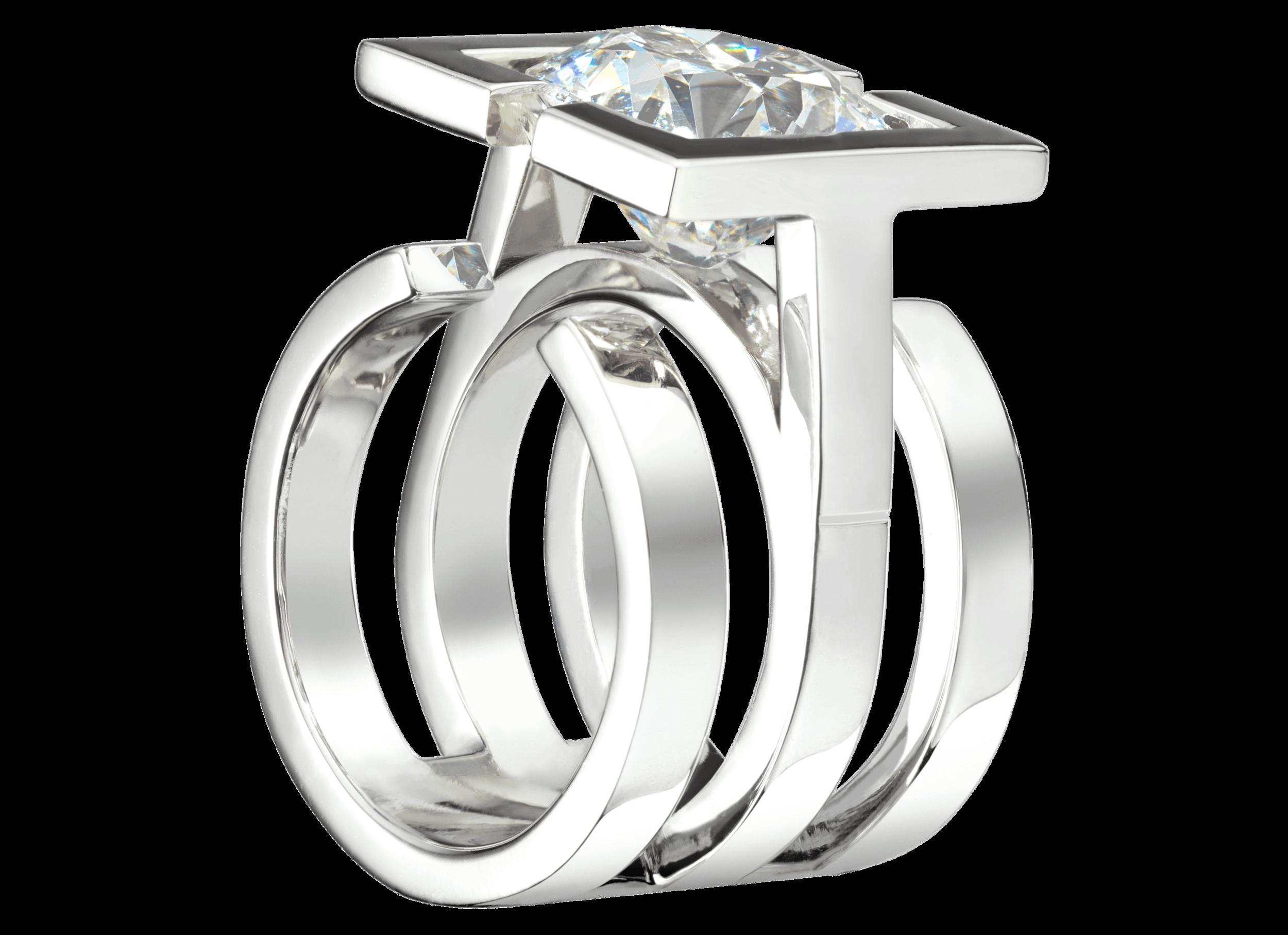 Bague Saint-Louis - Monture à partir de 3 000 € plus la pierre centrale.(modèle présenté or blanc et diamants de 5,45 carats - prix sur demande).