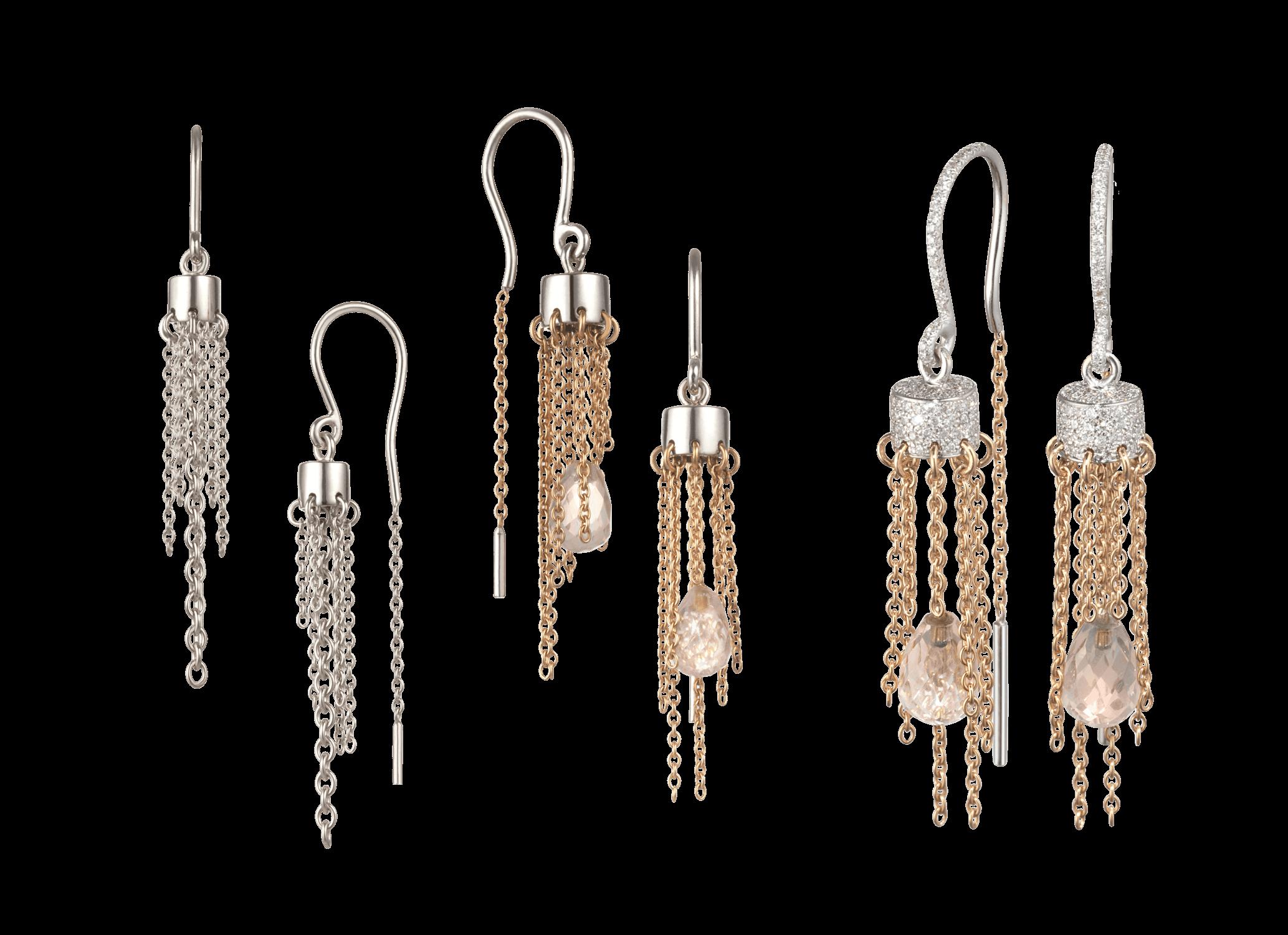 Boucles d'oreille Cygne - Á partir de 700 € tout or (blanc et/ou jaune et/ou rouge),900 € avec pampilles,3 300 € avec pavage 180 diamants (0,68 ct).