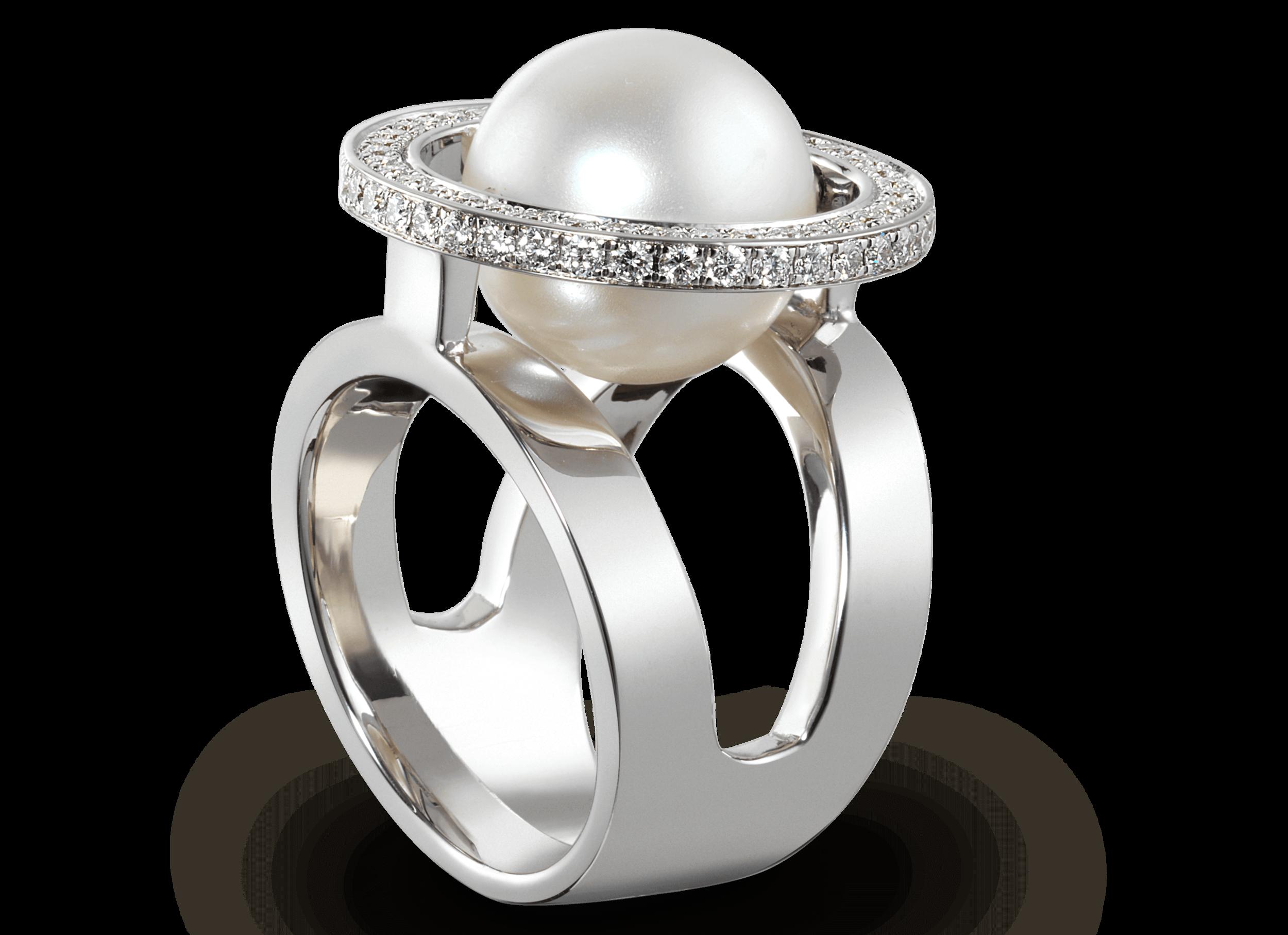 Bague Mamona - Or blanc, perle des mers du Sud Ø 12,2 mm et pavage de 38 diamants 0,53 carat6 000 €