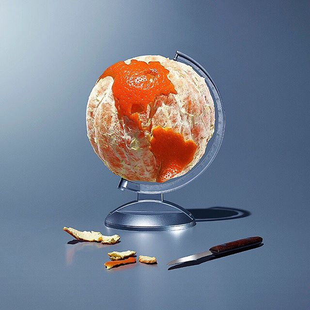 Orange is the New Earth. A shoot for Pacific Standard magazine about the complexity of map making and how it can distort our perception of some continents. Prop styling by @kelliemurph #photoillustration #conceptualstilllife #earthday2019  #conceptualstilllife #davidarky #stilllifephoto #stilllifephotographer