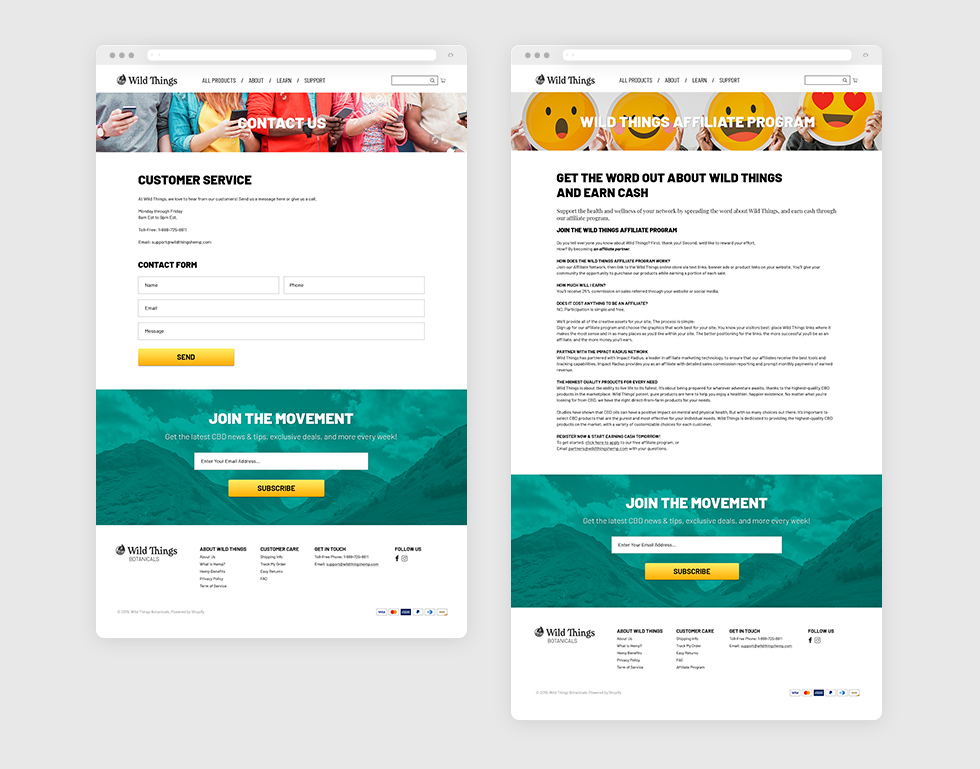 Customer Service & Affiliate Program Pages