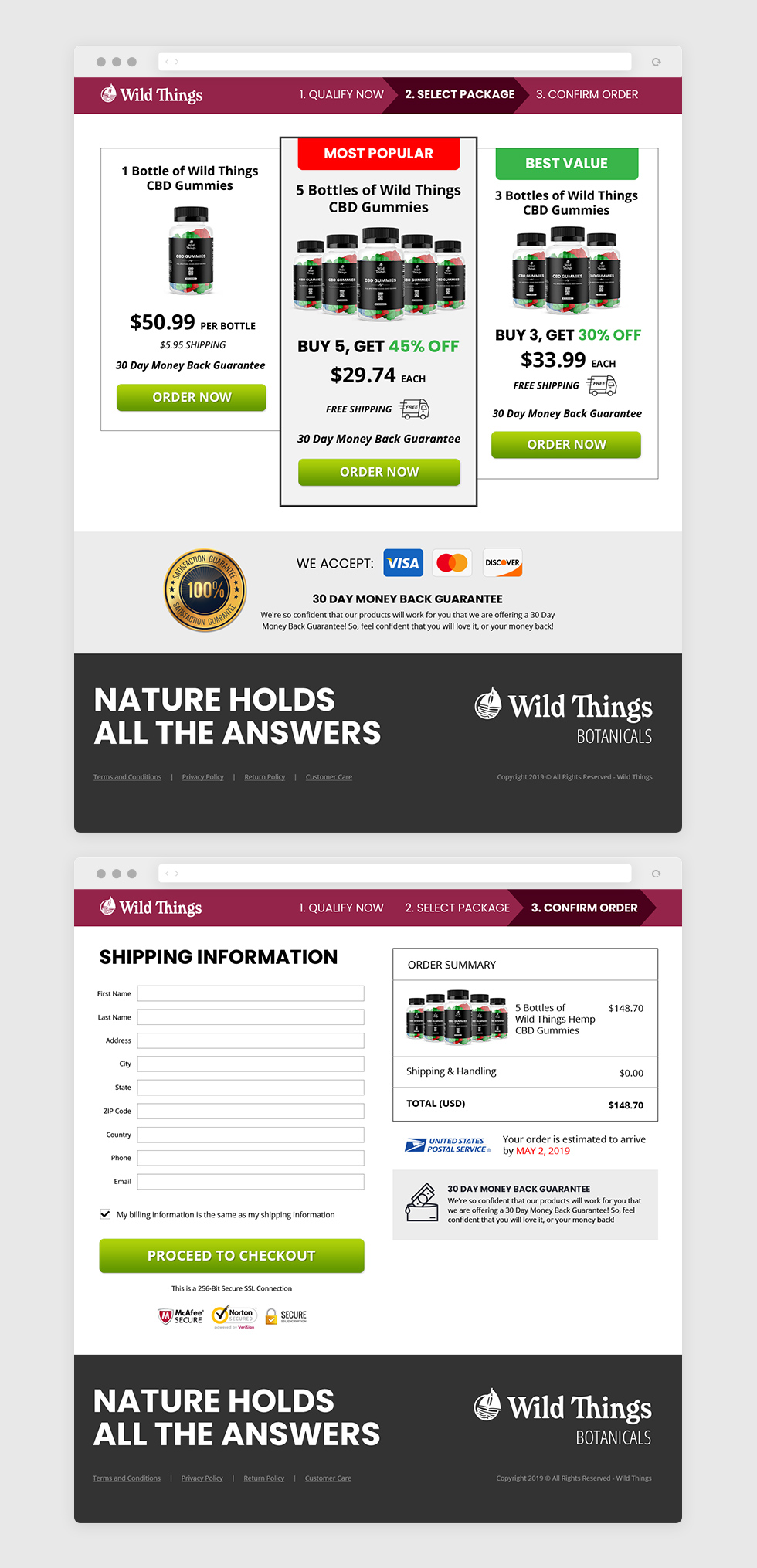 PACKAGE SELECTION AND PAYMENT PAGES