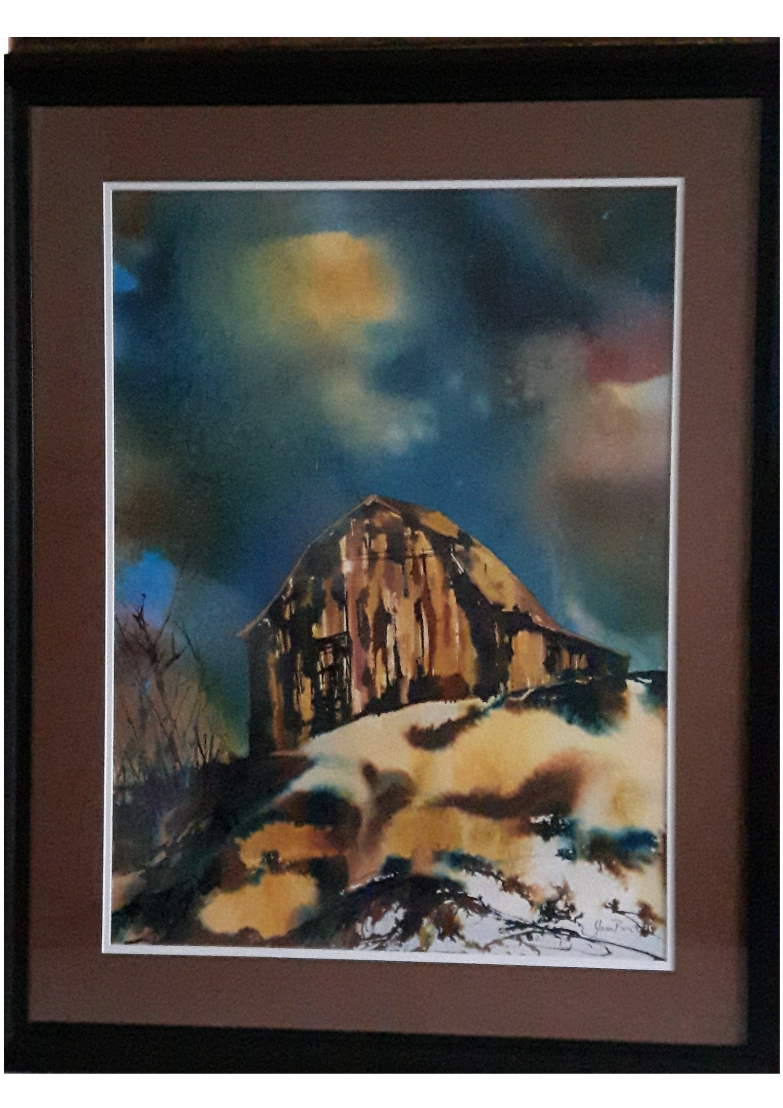 "SHELTER:  Poured Acrylic Ink . Framed. 39""x 30"""