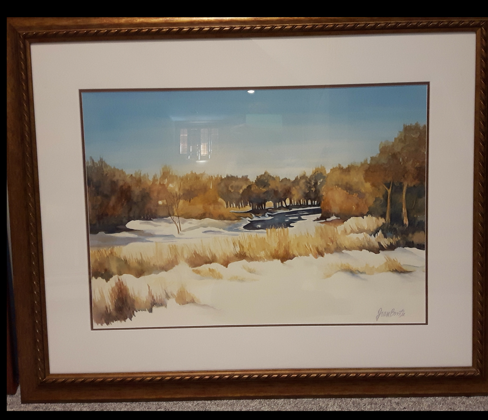 "NITHERIVER:  Watercolour. Framed. 18""x 35"""