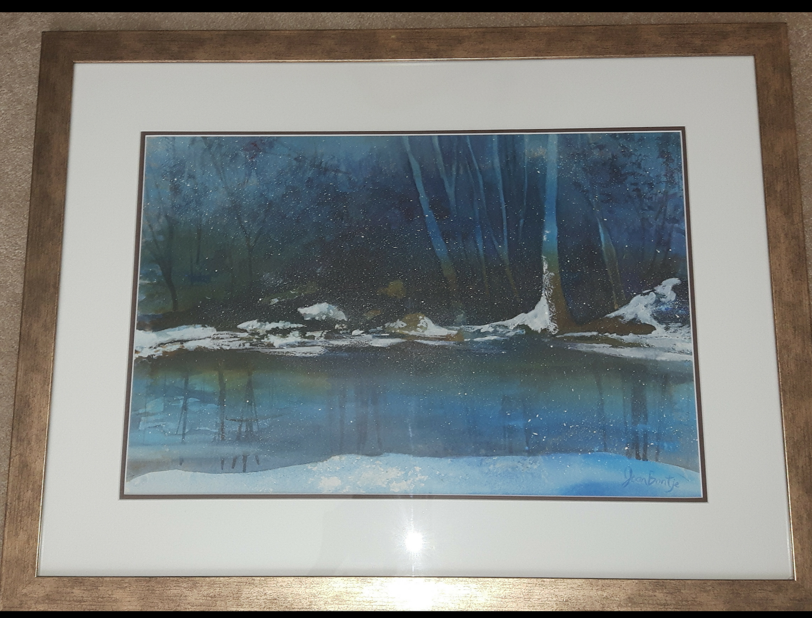 "WINTER BLUES:  Poured Ink. Framed. 23""x 29"""