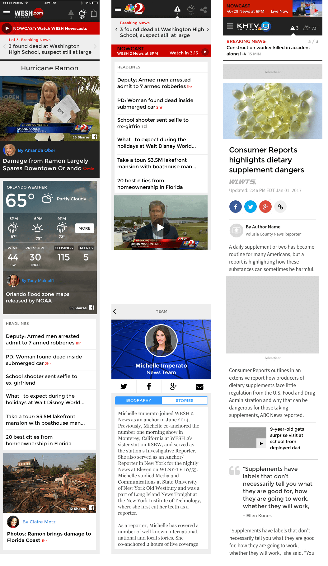 This Shows Two Different Local TV Stations with the Same Mobile Template