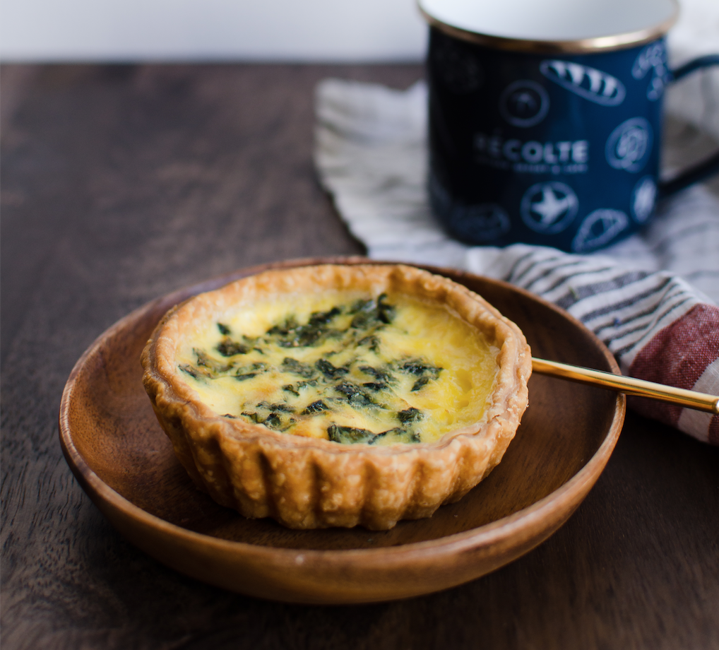 Salmon Spinach Quiche   French Flour, Butter, Cream, Egg, Milk, Goat Cheese, Smoke Salmon, Spinach