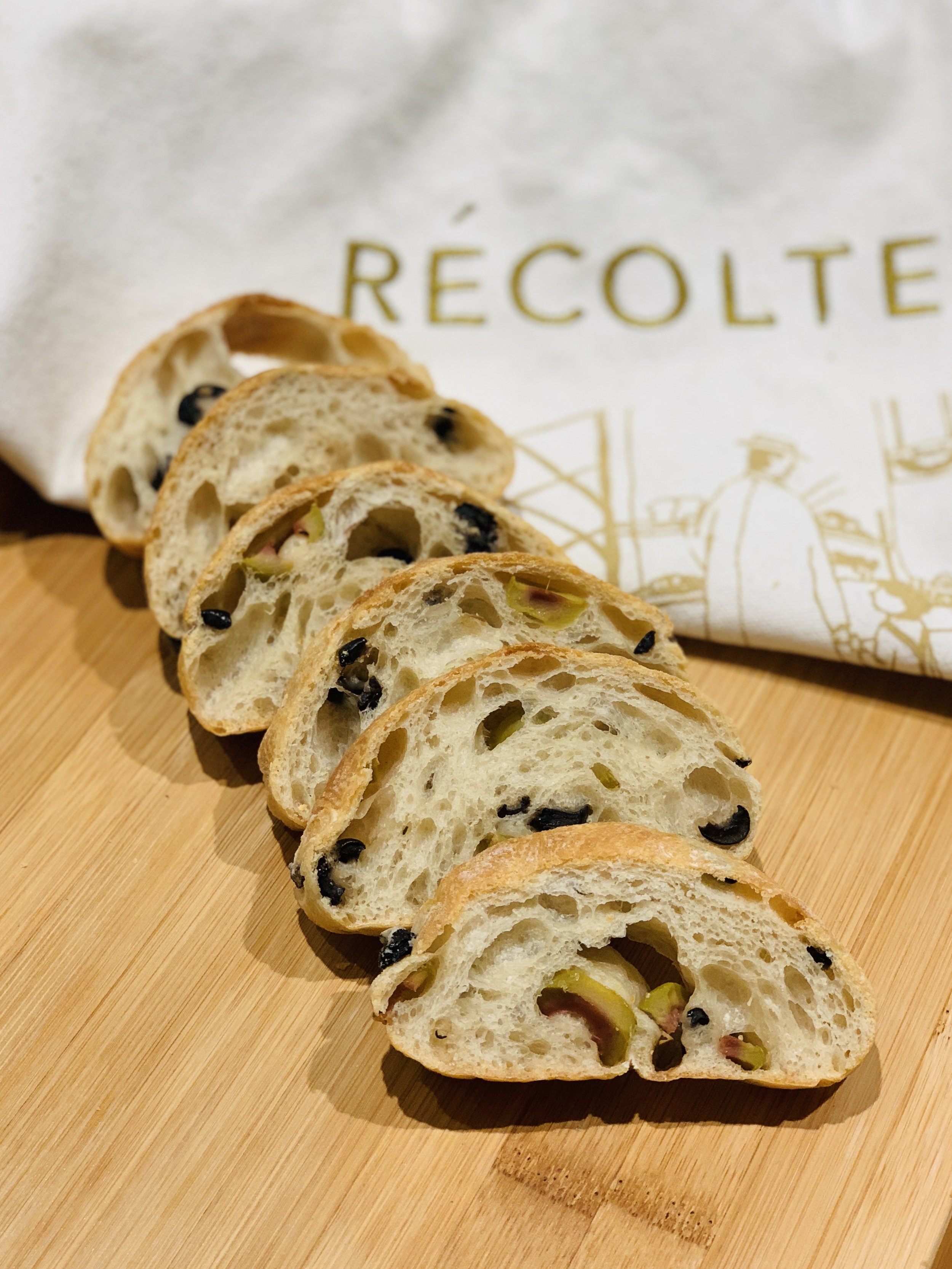 Olive Ciabatta   French Flour, Olive Oil, Black Olive, Green Olive