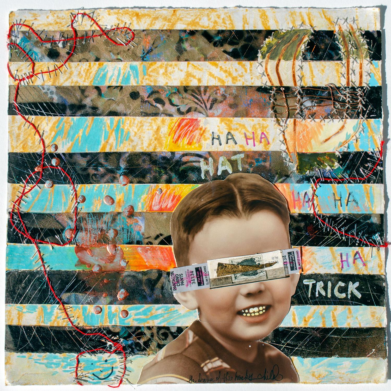 """Ha, Ha, Hat Trick, 2018, Mixed Media on Paper, 15"""" x 15"""""""