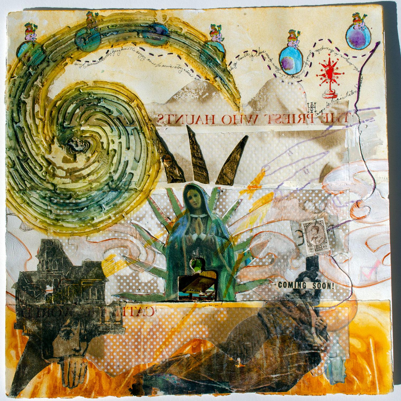 "Spiritual Dilemma, 2018, Mixed Media on Paper, 15"" x 15"""