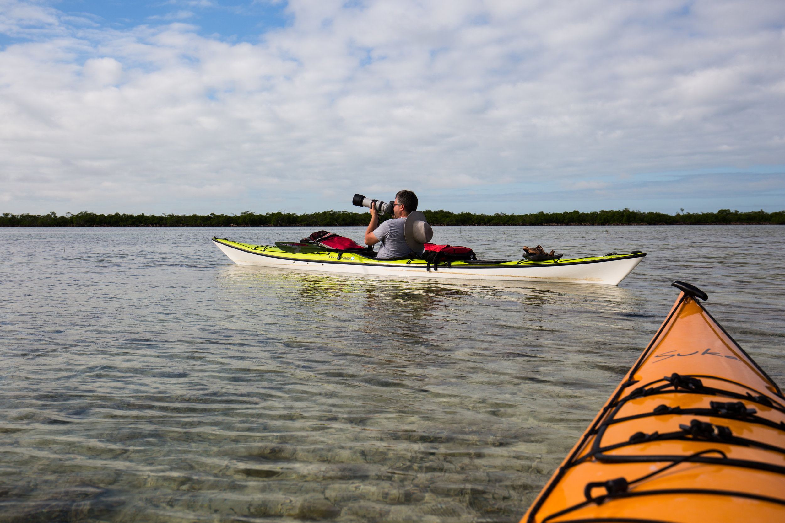 Kayaking in the shallow waters in Summerland Key