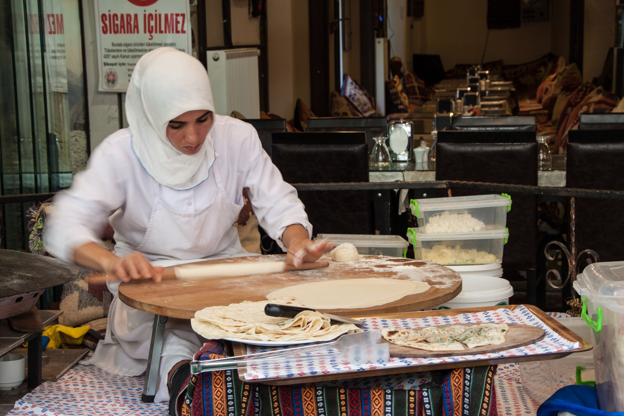 Making traditional bread outside a restaurant in Istanbul