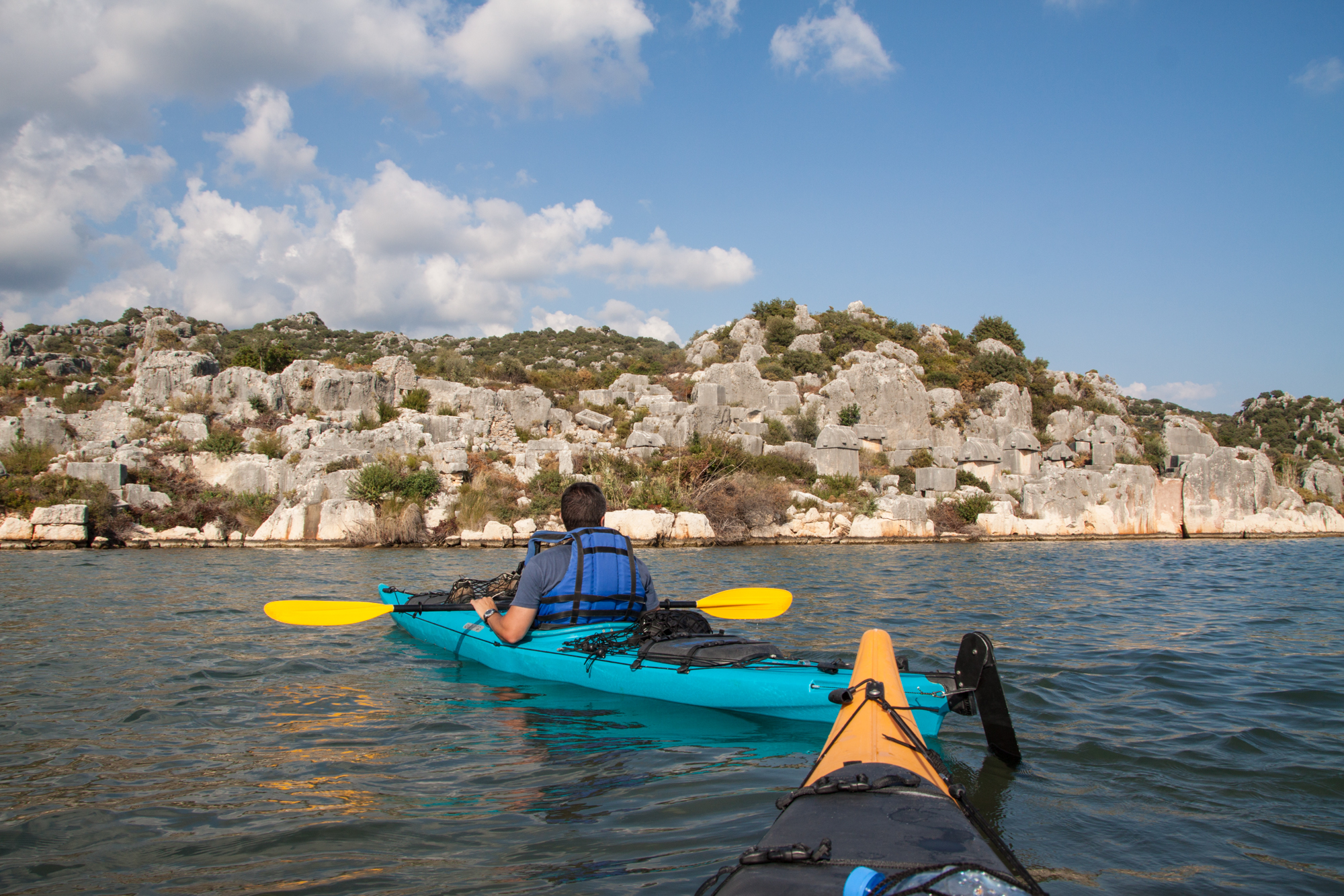 Kayaking near the Lycian tombs outside of Kas