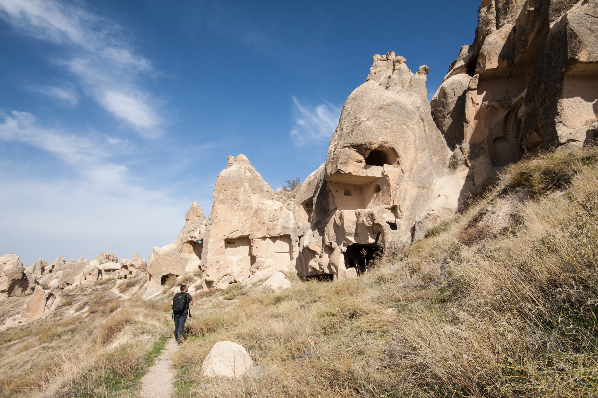 Exploring the stone chimneys in Göreme - again, we had the place to ourselves to explore the homes dug out of the rock