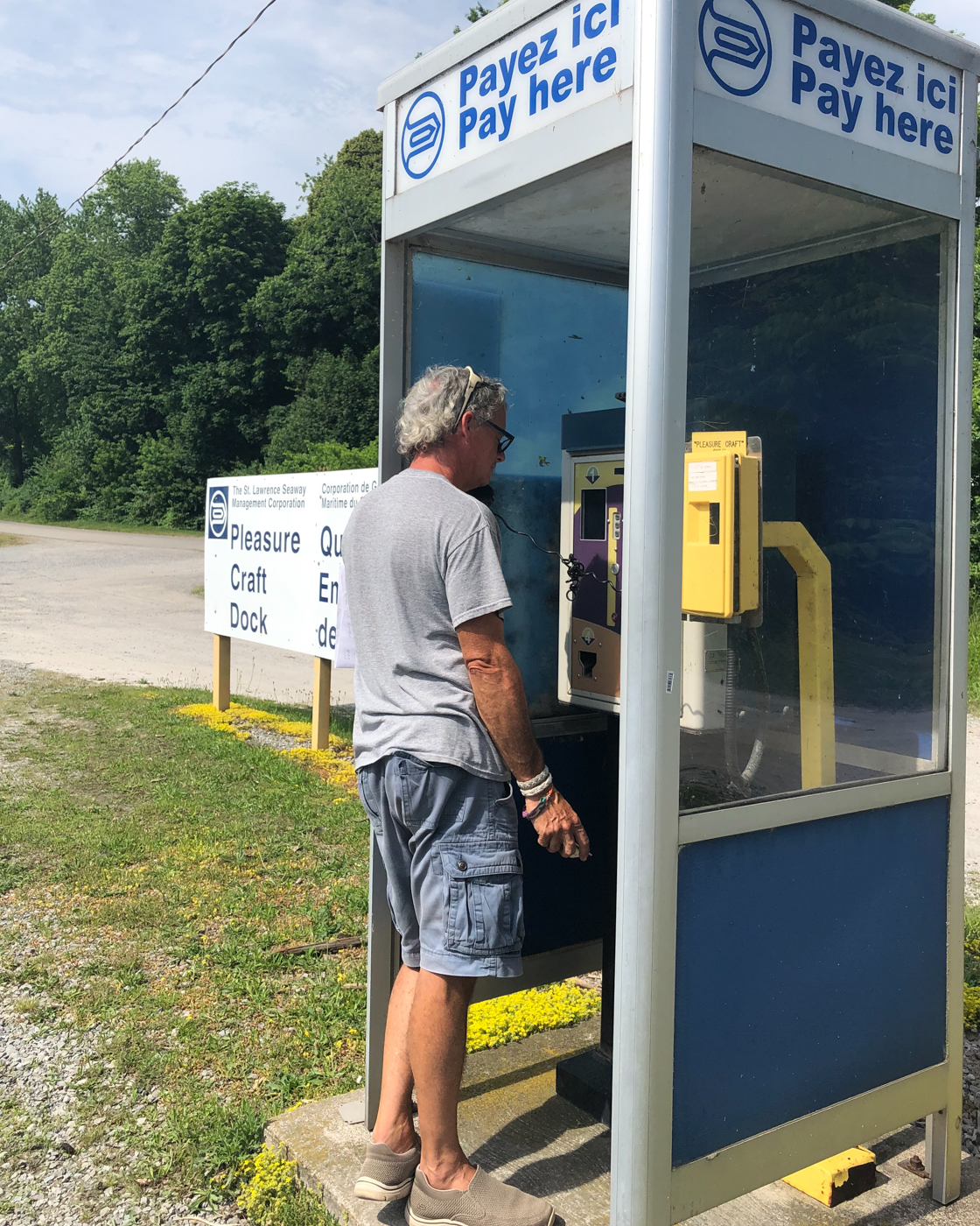 Checking in at the phone booth in Port Weller