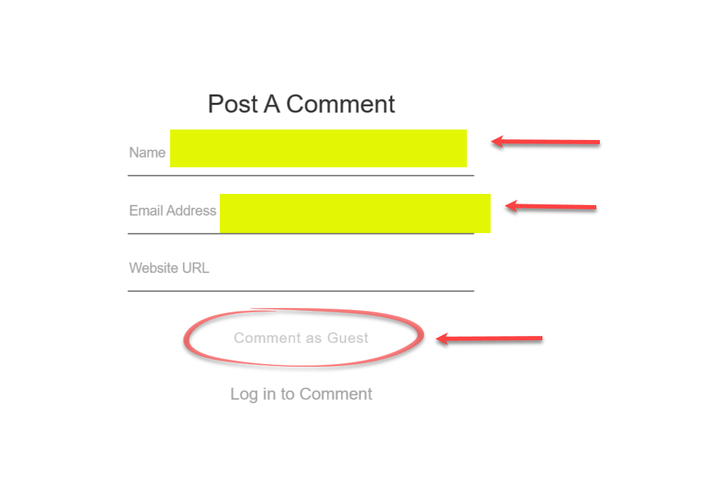 "To comment on a post, just type your comment, click on ""Post comment"" and this pop-up window appears. Then just type your name, email address, and then ""Comment as Guest."" NO SQUARESPACE ACCOUNT NEEDED."