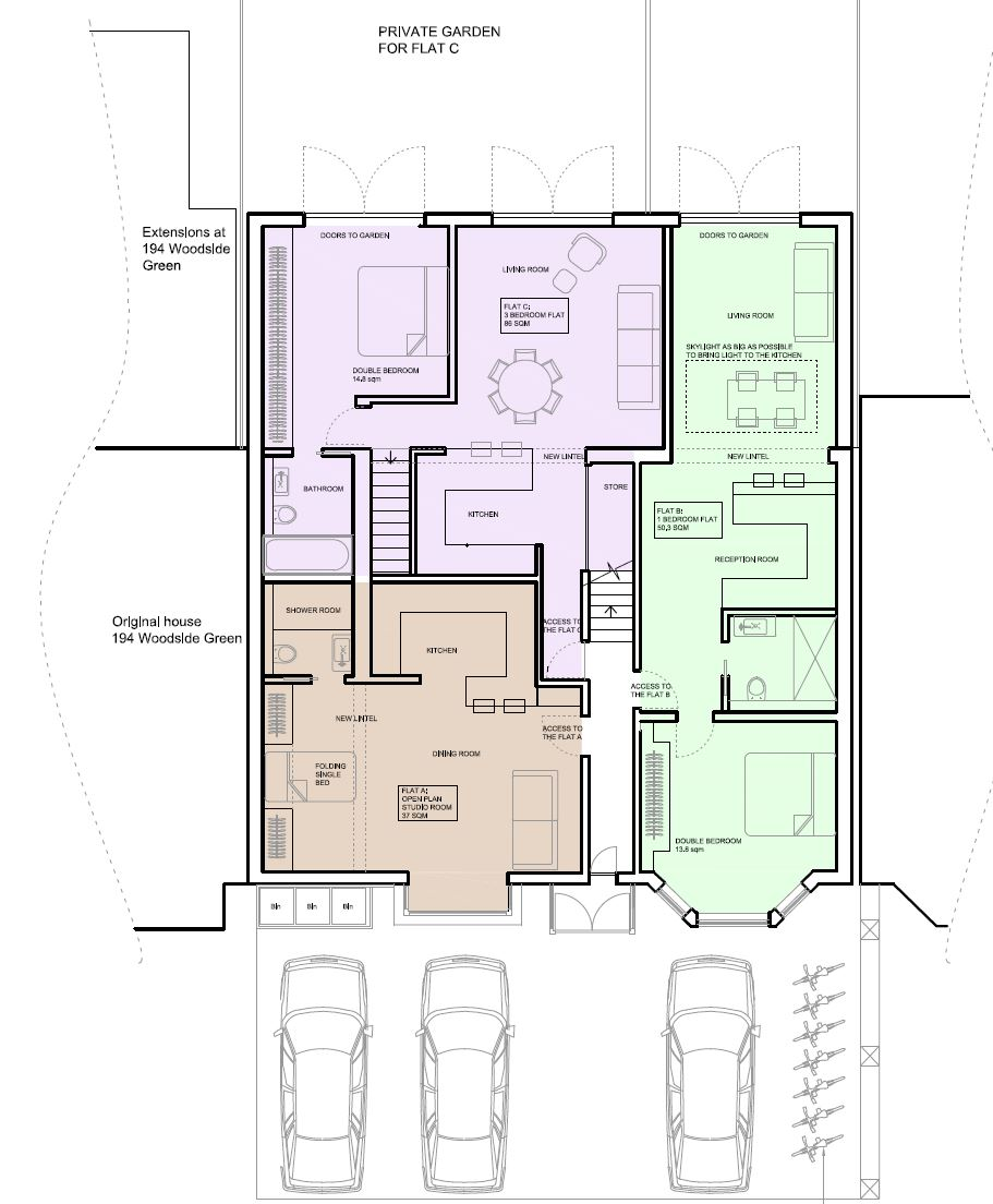 Change of use application from a house into five apartments