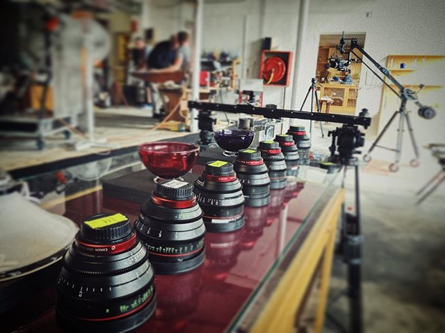 A Nice lineup of glass. Had the complete canon cn-e primes from. 14-135 for my job yesterday ;) what's not to like? It's the canon C700ff on a @kesslercrane jib in the background.  #liveforthestory • • • • •  #filmproduction  #filmmaking  #filmmaker  #cinematographer #dop  #filmgear #directorofphotography #nicolaibrix #canonambassador #canoncine #canoncinema #canoncineprimes