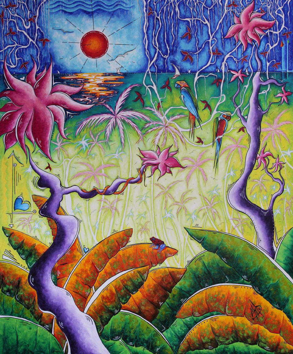 "MADART, MEGAN AROON DUNCANSON   Deep in the Jungle - 2018   Acrylic On Canvas  60 X 72"""