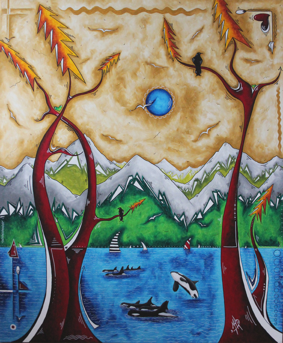 "MADART, MEGAN AROON DUNCANSON   Live Freely - 2018   Acrylic On Canvas  60 X 72"""