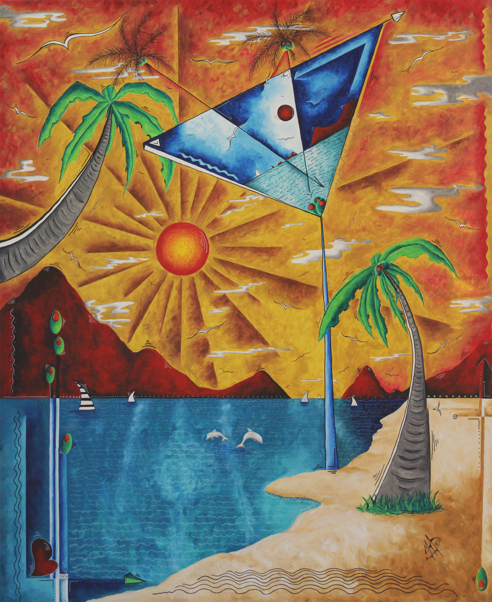 "MADART, MEGAN AROON DUNCANSON   Martini Dreams - 2018   Acrylic On Canvas  60 X 72"""
